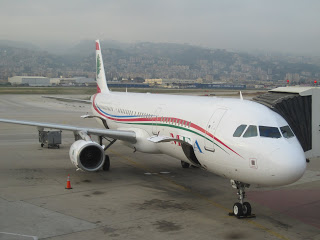 A MEA A321 with the Lebanese mountains in the background