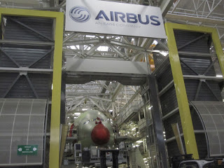 The nose of an A380 being built