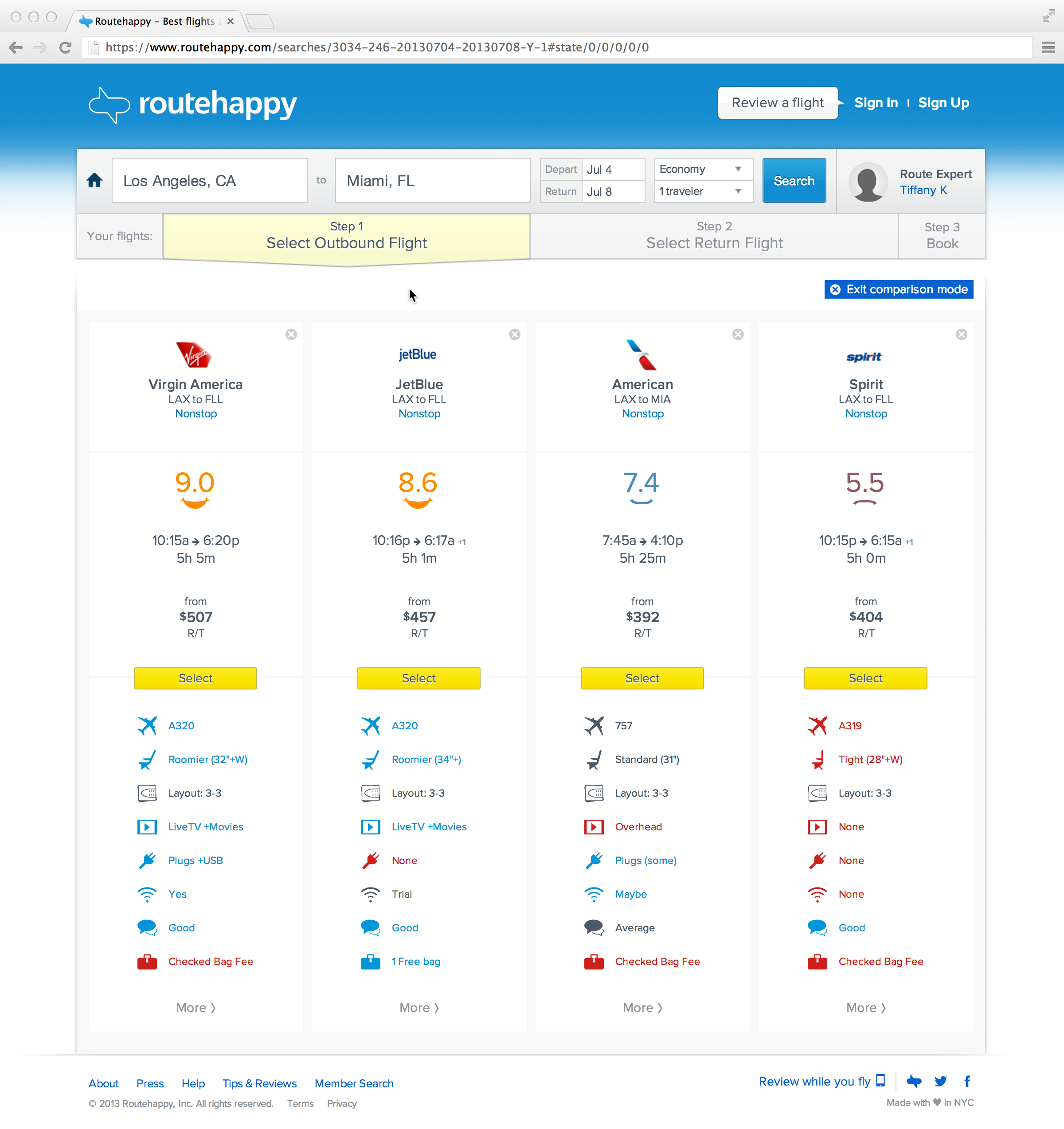 Routehappy Comparison tool LA-to-Miami.may 23.png