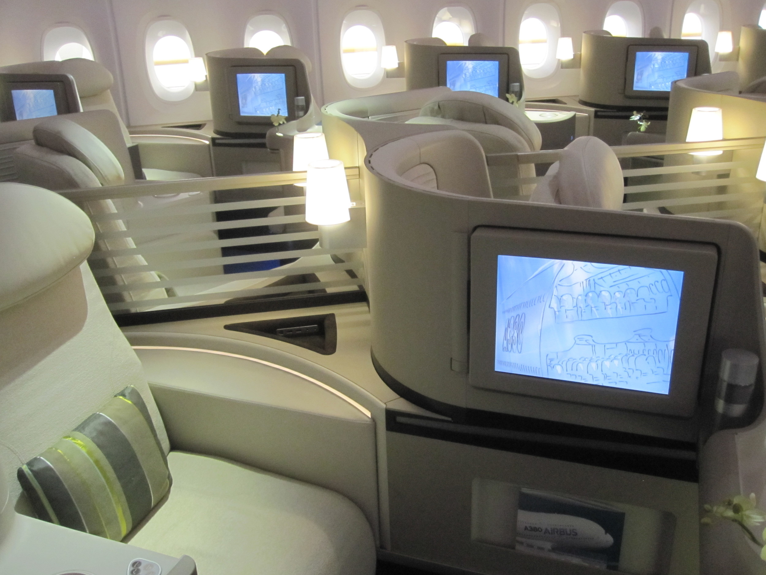 Feeling like going somewhere? This is one of the premium cabin concepts for the Airbus A380 exhibited at the mock-up center