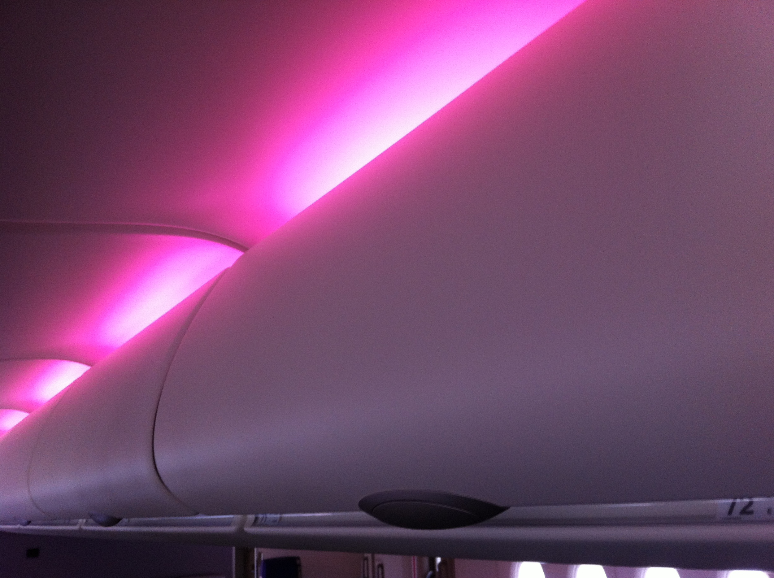 Night club decoration? No! those are the new generation overhead bins on-board!
