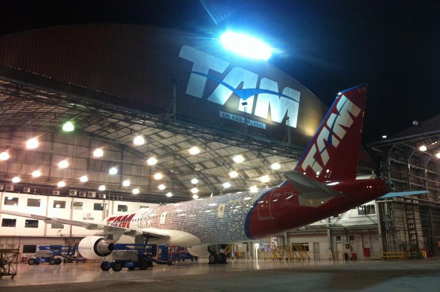 TAM Fidelidade Airbus at the hangar
