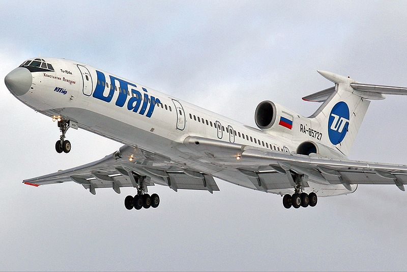 Not to be seen at Russian airports anymore, a UTair Tu-154. Picture:  Gennady Misko  via  Wikipedia