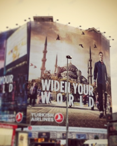 Lionel Messi on a Turkish Airlines poster in Barcelona, he not only flies Qatar Airways apparently....