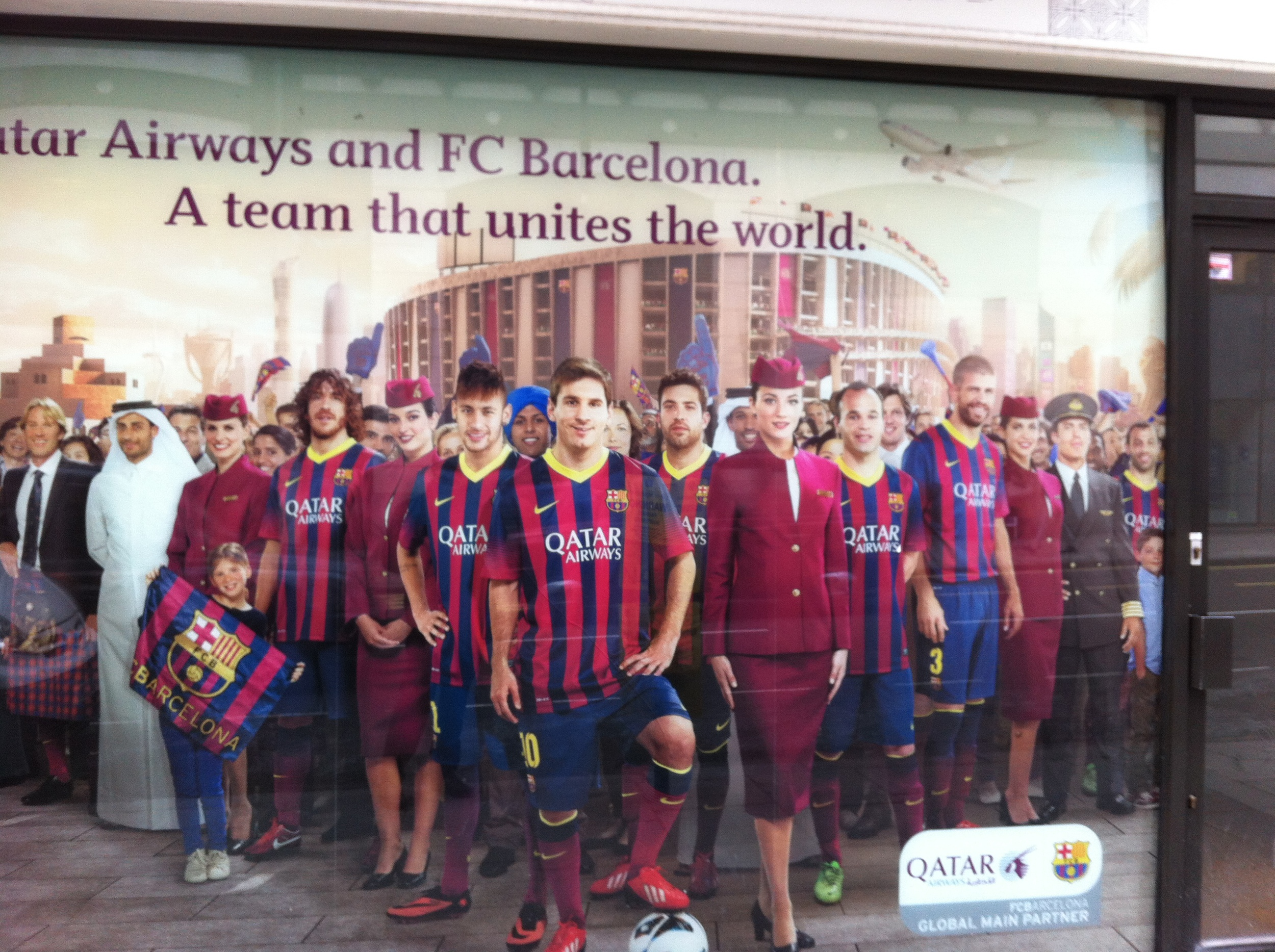 Qatar Airways FC Barcelona poster in London, with Lionel Messi at the forefront