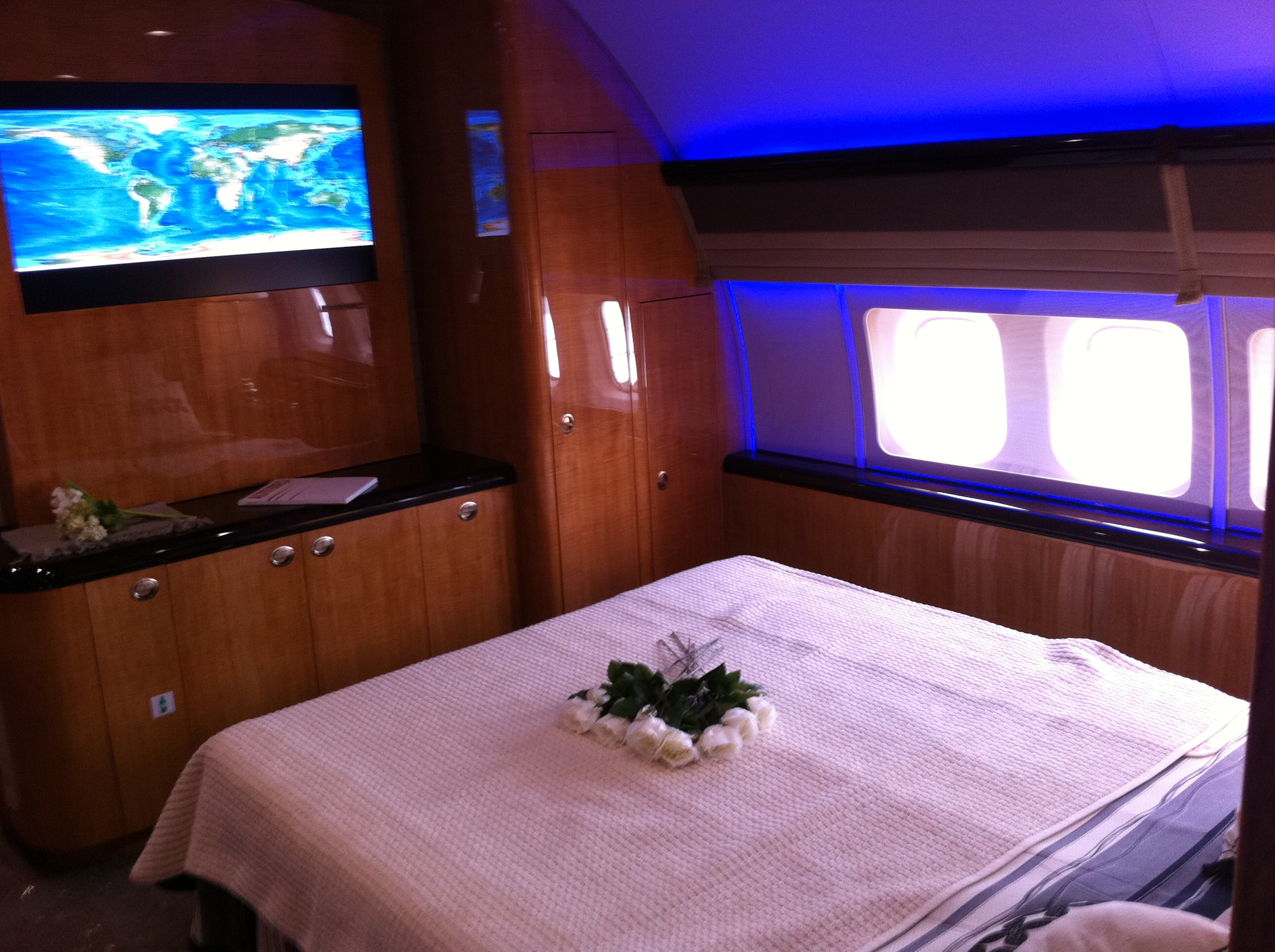 The bedroom on a Boeing Business Jet