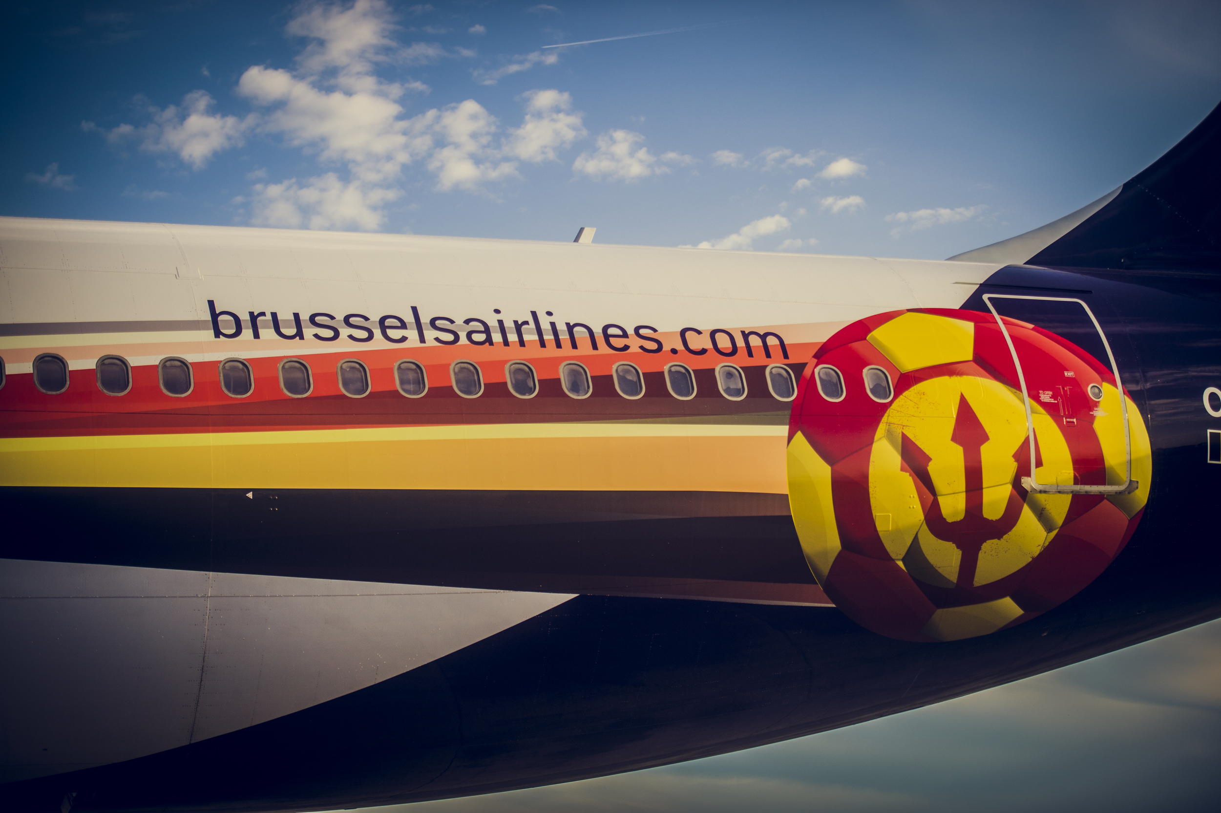 A detail of Brussels Airlines' World Cup livery. Picture: Brussels Airlines