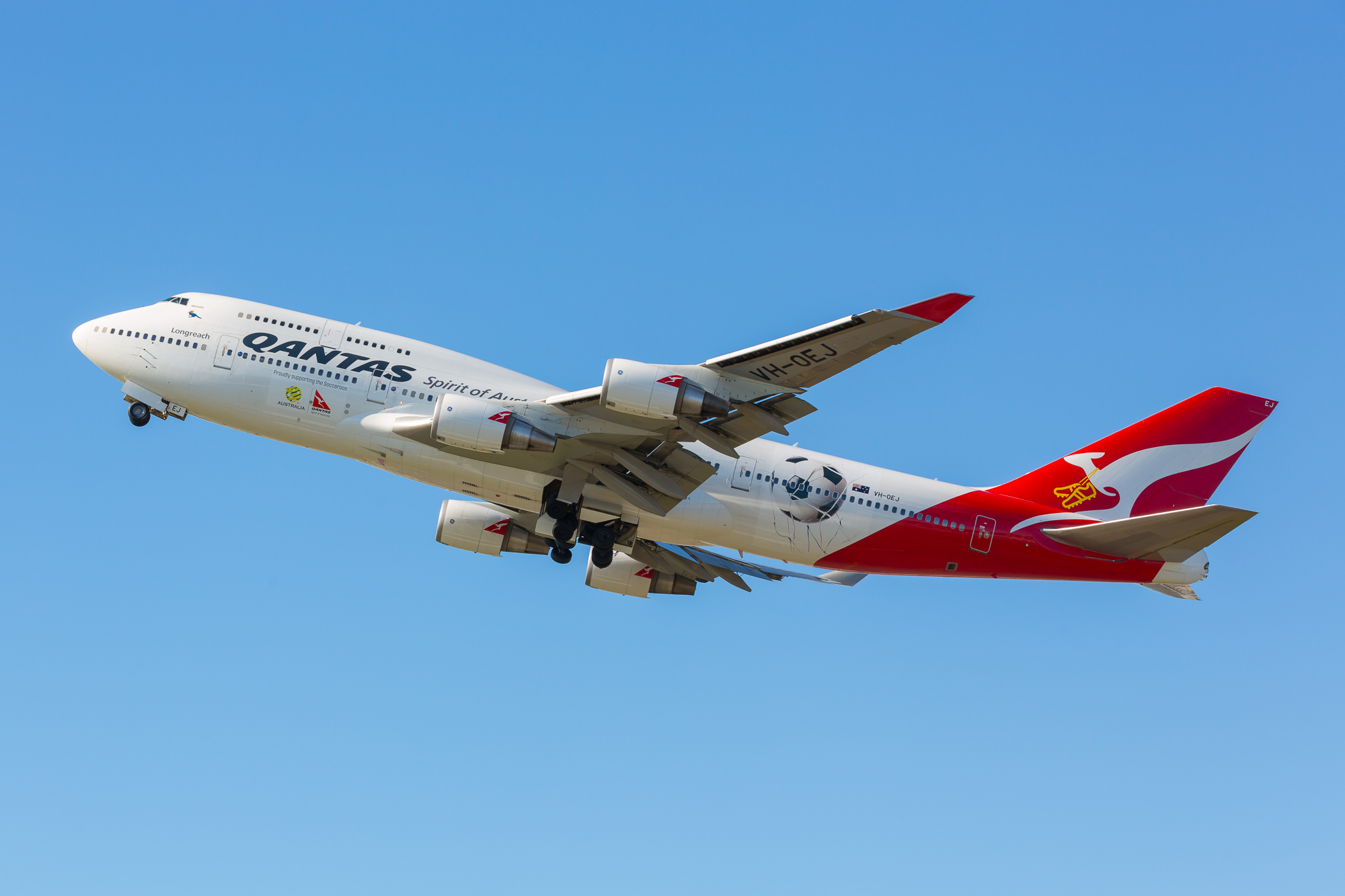 The venerable Boeing 747 on an important mission of World Cup importance. Picture: Qantas