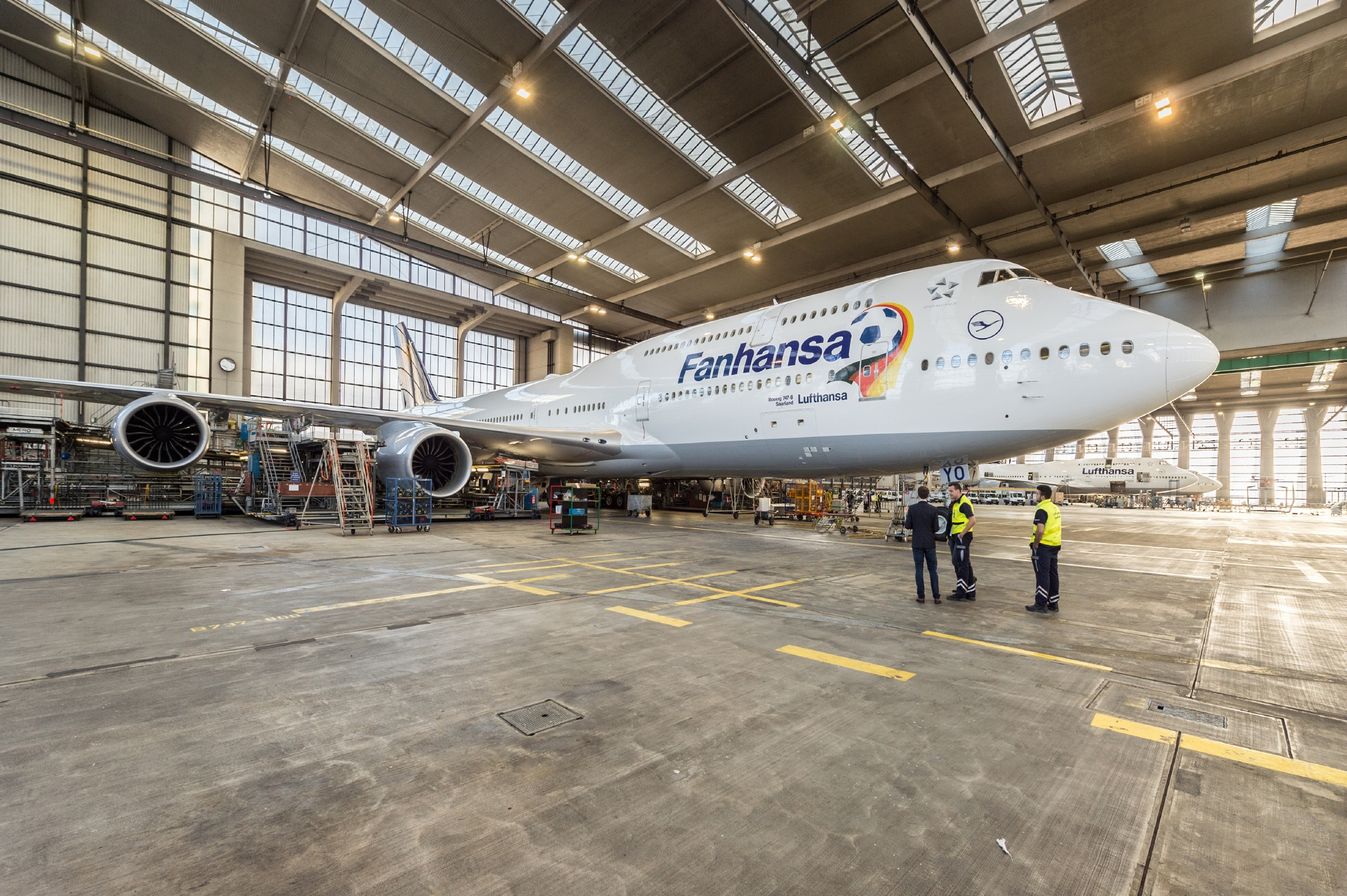 """As corresponds to one of the World's football powerhouses, Lufthansa has painted not only one aircraft in """"Fanhansa"""" World Cup livery, but two...  Picture: Lufthansa"""