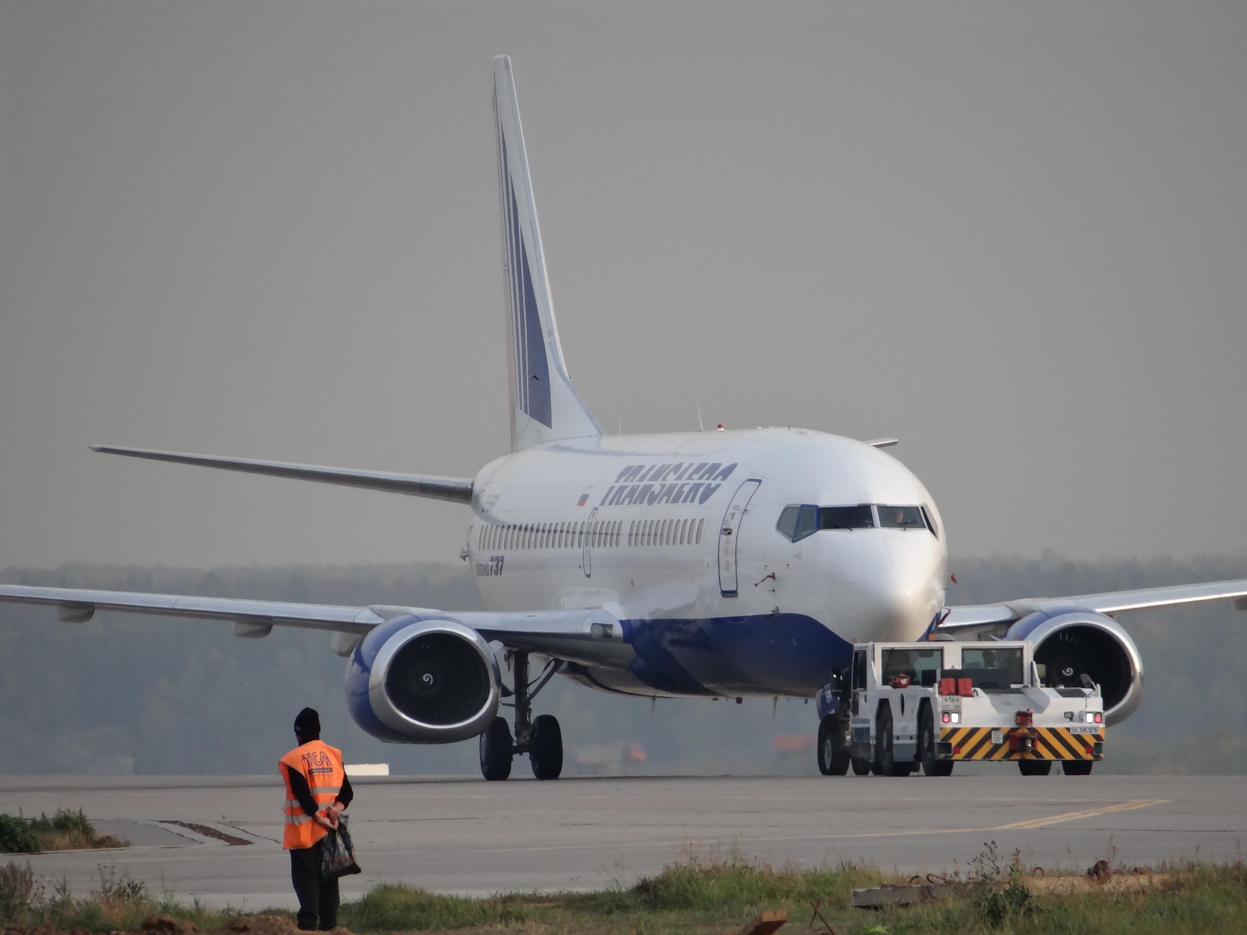 A Transaero Boeing 737 being tugged