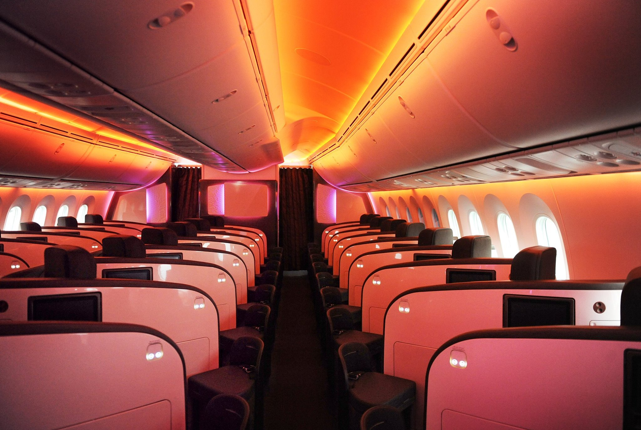 The Dreamliner's cabin lights can be dimmed to facilitate relaxation. Picture:  Virgin Atlantic