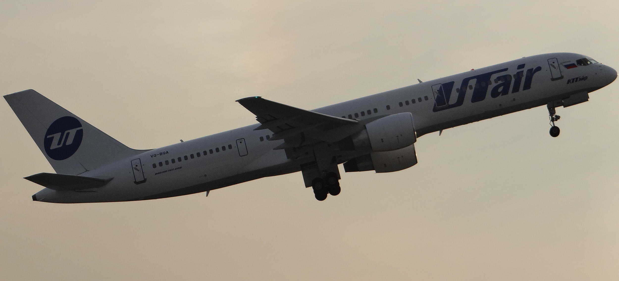 UTair Boeing 757 taking-off from Domodedovo airport Moscow at sunset. It soon won't be happening anymore, as UTair withdraws this aircraft type.