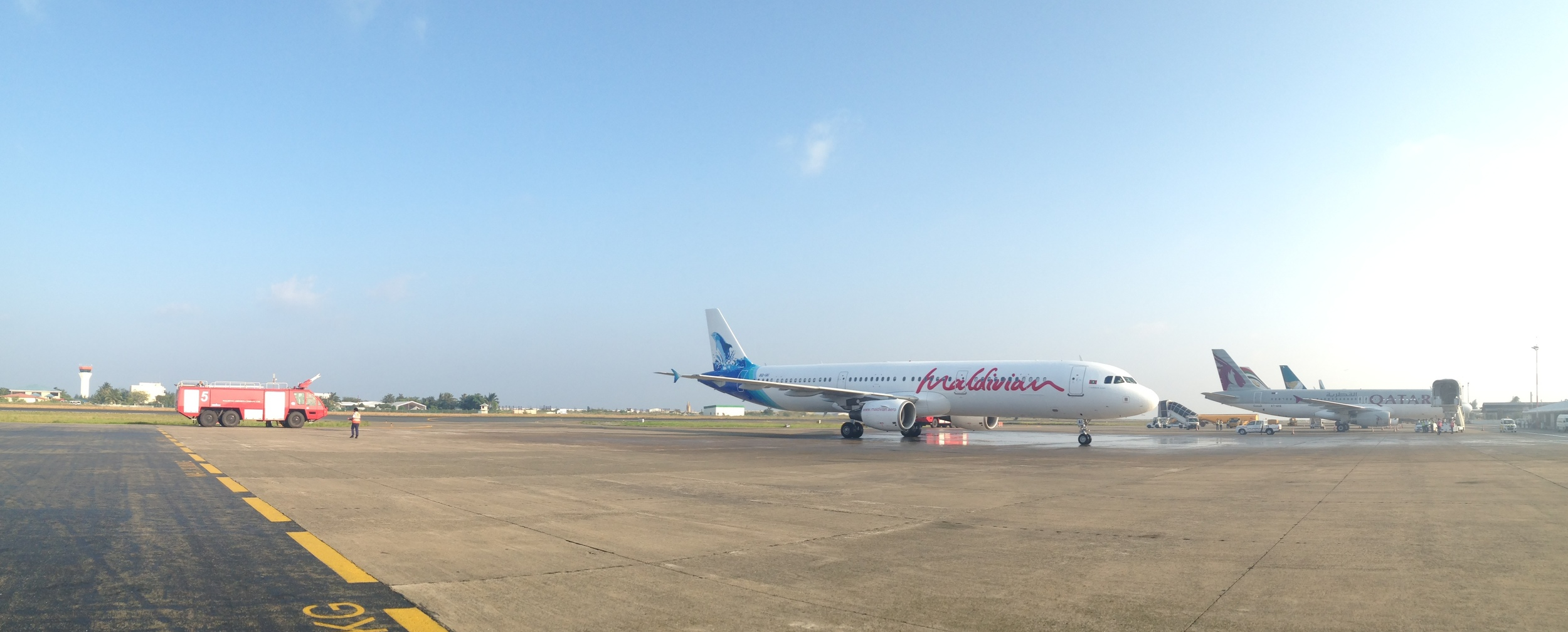 Maldivian's A321, immediately after the required water salute