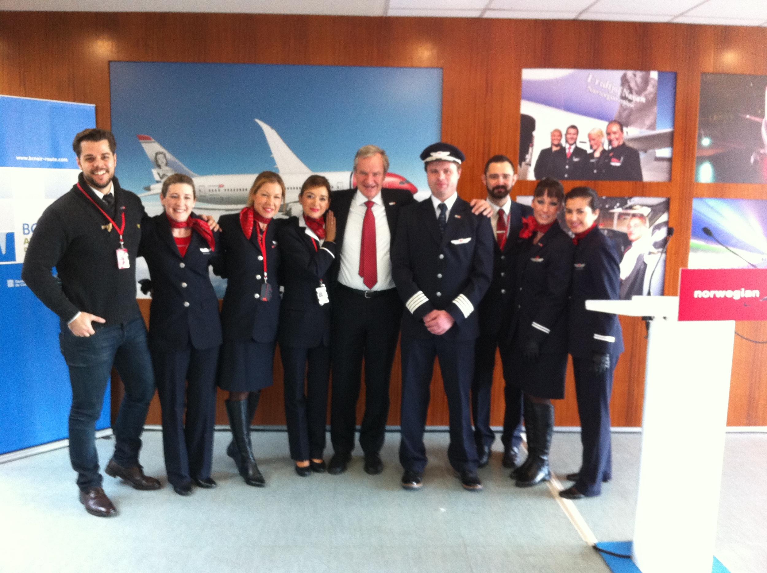 Norwegian's boss,  Bj  ørn    Kjos, with some of Norwegian's Barcelona-based crew