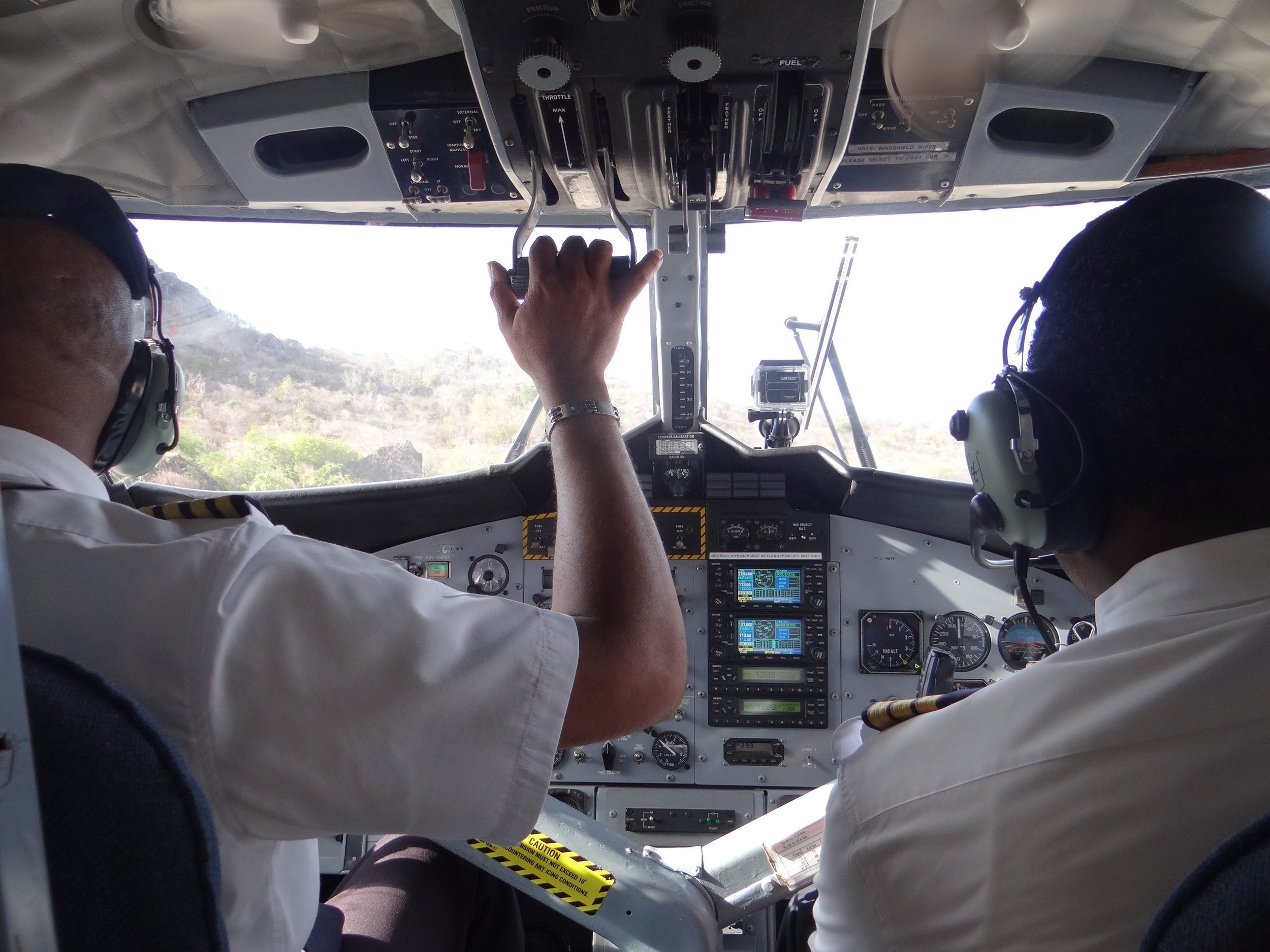 Inside the cockpit of a Winair DHC-6 Twin Otter, the islands' lifeline. Picture:  Alain Duzant