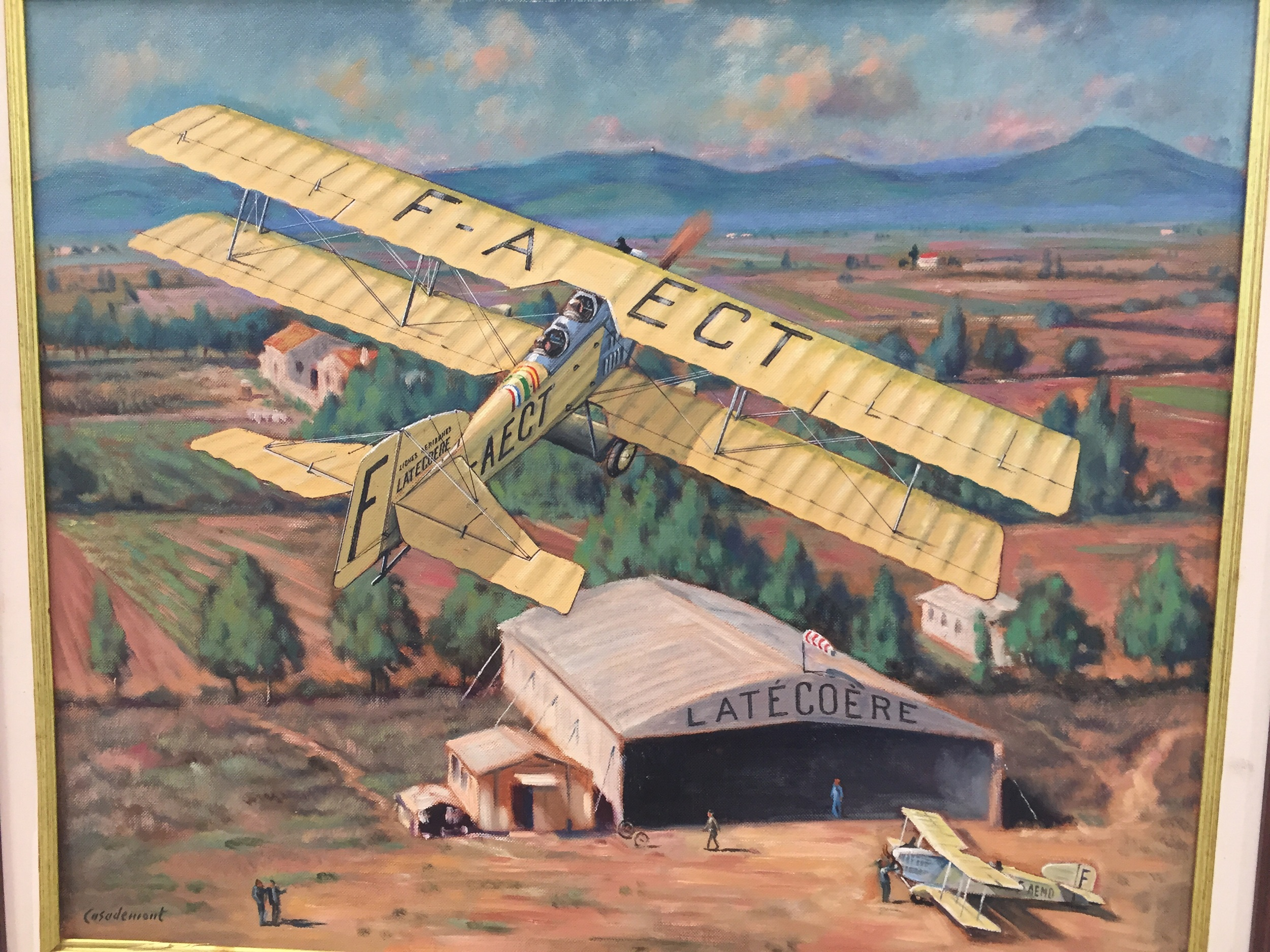 An artist's depiction of the early days of Barcelona airport, with the facilities of French airline Latécoère. After WWI Barcelona became an important stop in the first air route between France and Morocco.
