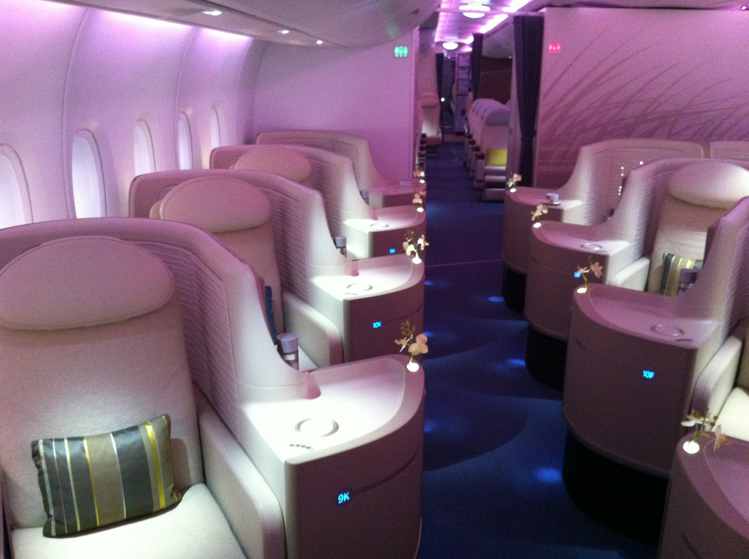 Business class mock-up cabin at Airbus design center