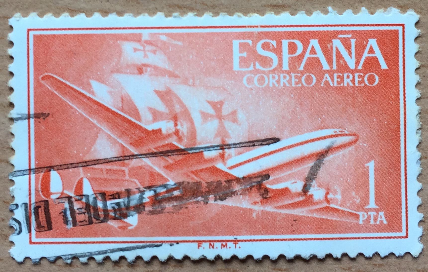 """A Lockheed Super Constallation illustrated this Spanish """"Air Mail"""" stamp series of 1955.Not explicit in the stamp, but most likely the designers took inspiration from Iberia's Super-Connies, that were used in Transatlantic routes,  often to Latin America . Notice also the reference to Columbus' ship. Spain's role in the """"discovery"""" and conquest of America was a regular theme in Spanish postal stamps for decades."""