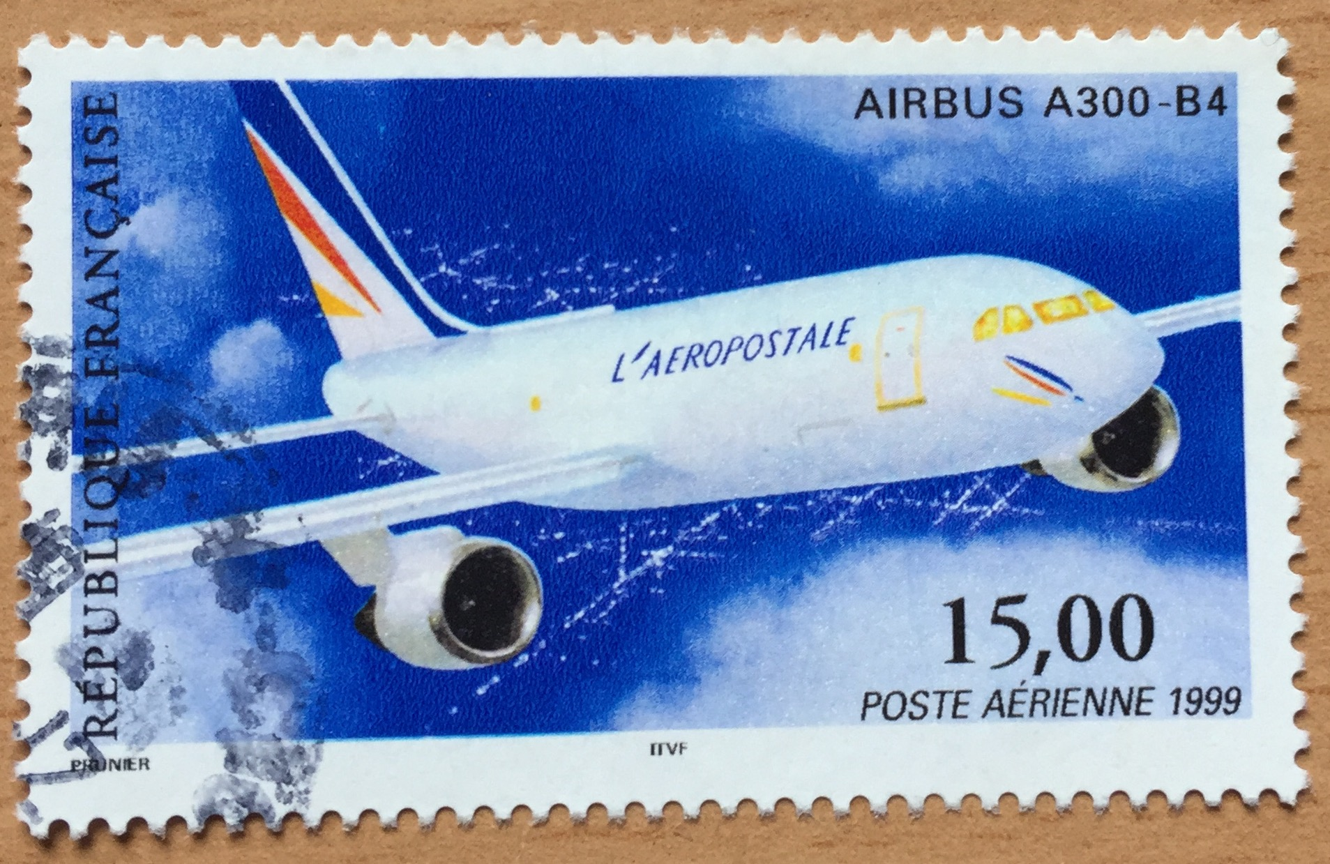 A 15-Franc French stamp of 1999 with a magnificent Airbus A300 B4, a well-deserved source of pride for the French aerospace industry.