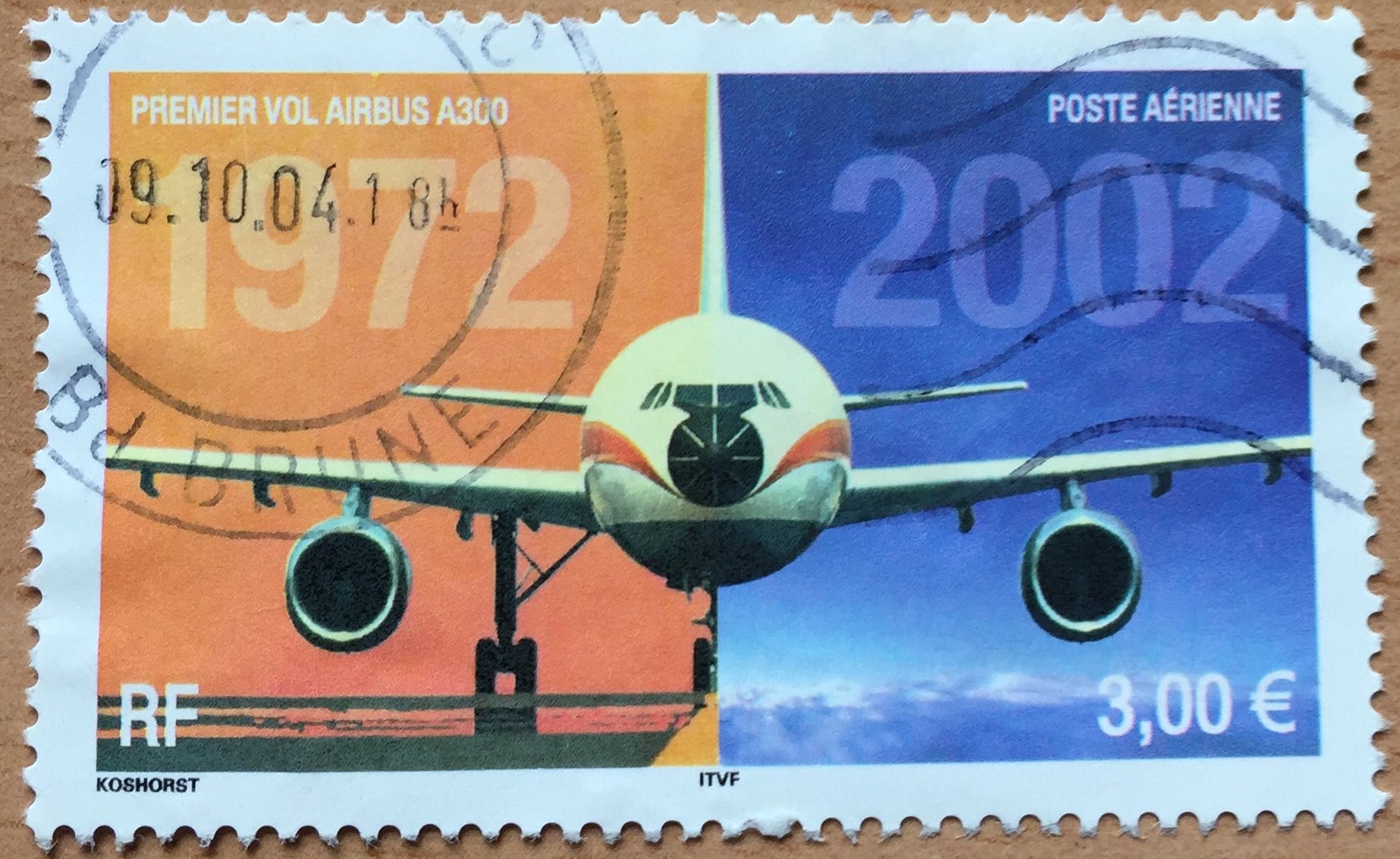 The Airbus A300, again in a French postal stamp of 2002. This time already priced in Euros and celebrating 30 years of the introduction of the first of Airbus airliners.