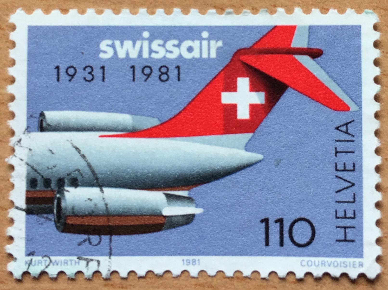 Swiss Post 1981 stamp celebrating Swissair's 50th anniversary.