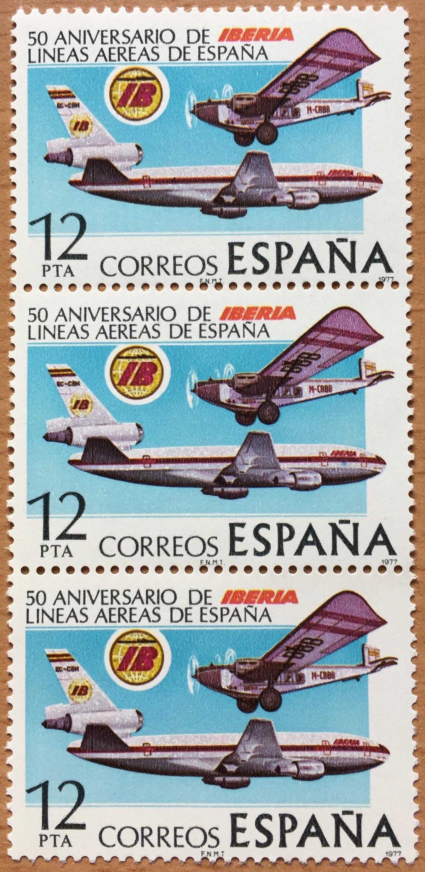 "Iberia's 50th Anniversary, Spanish post, ""Correos"", stamp, 1977"