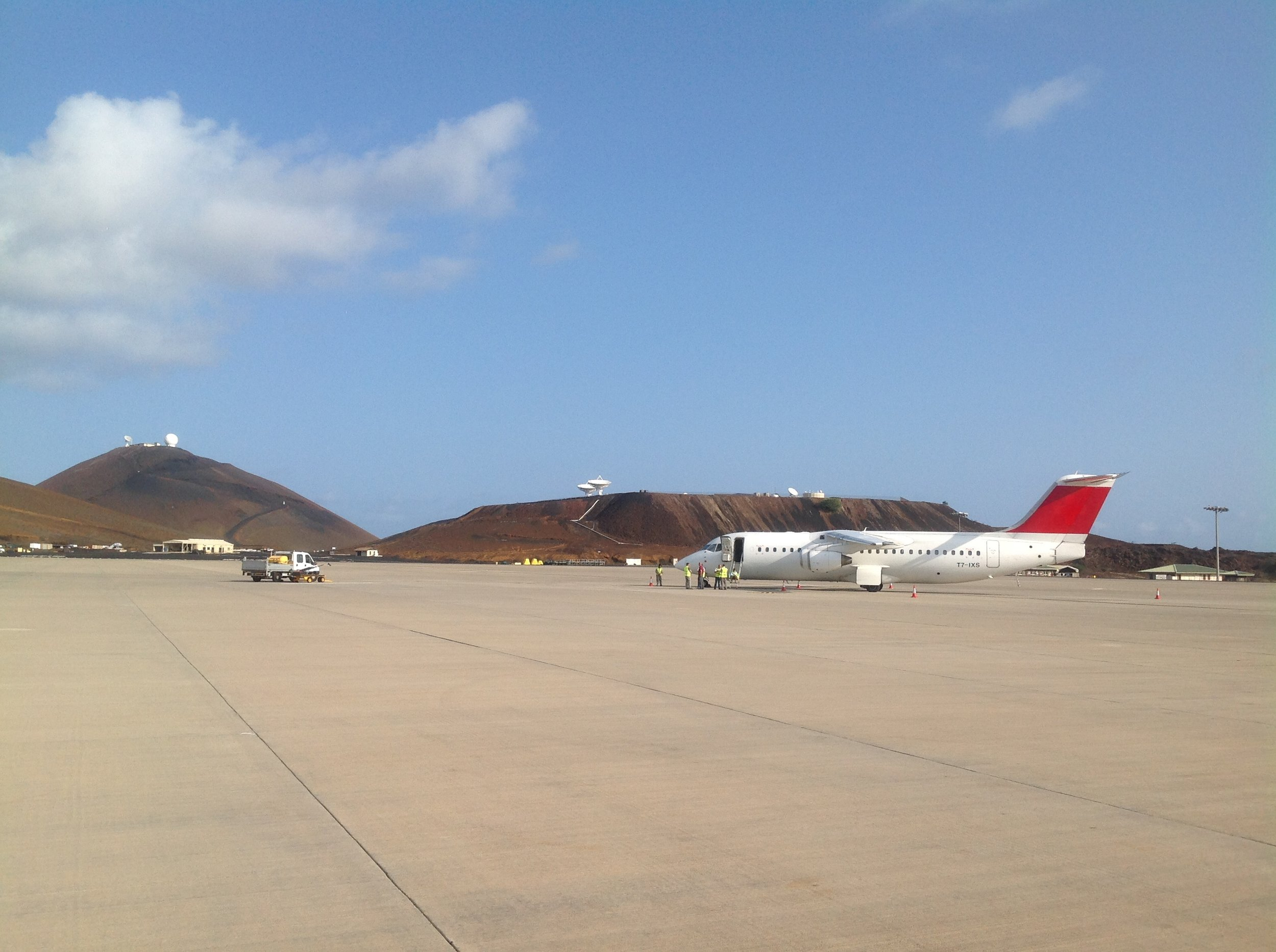 The Avro RJ100 during its stopover at Ascension Island