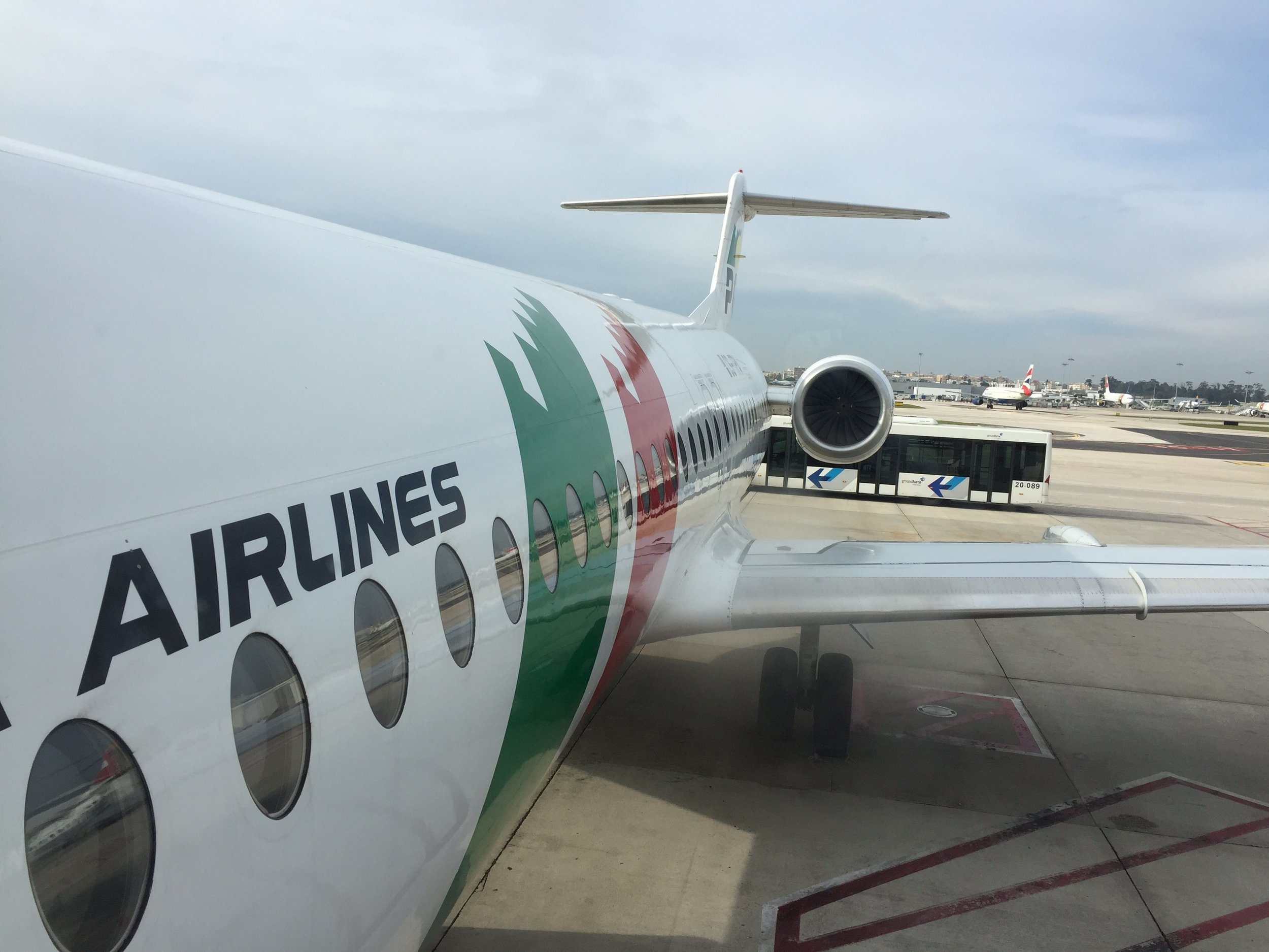 A view of the Fokker 100 while boarding