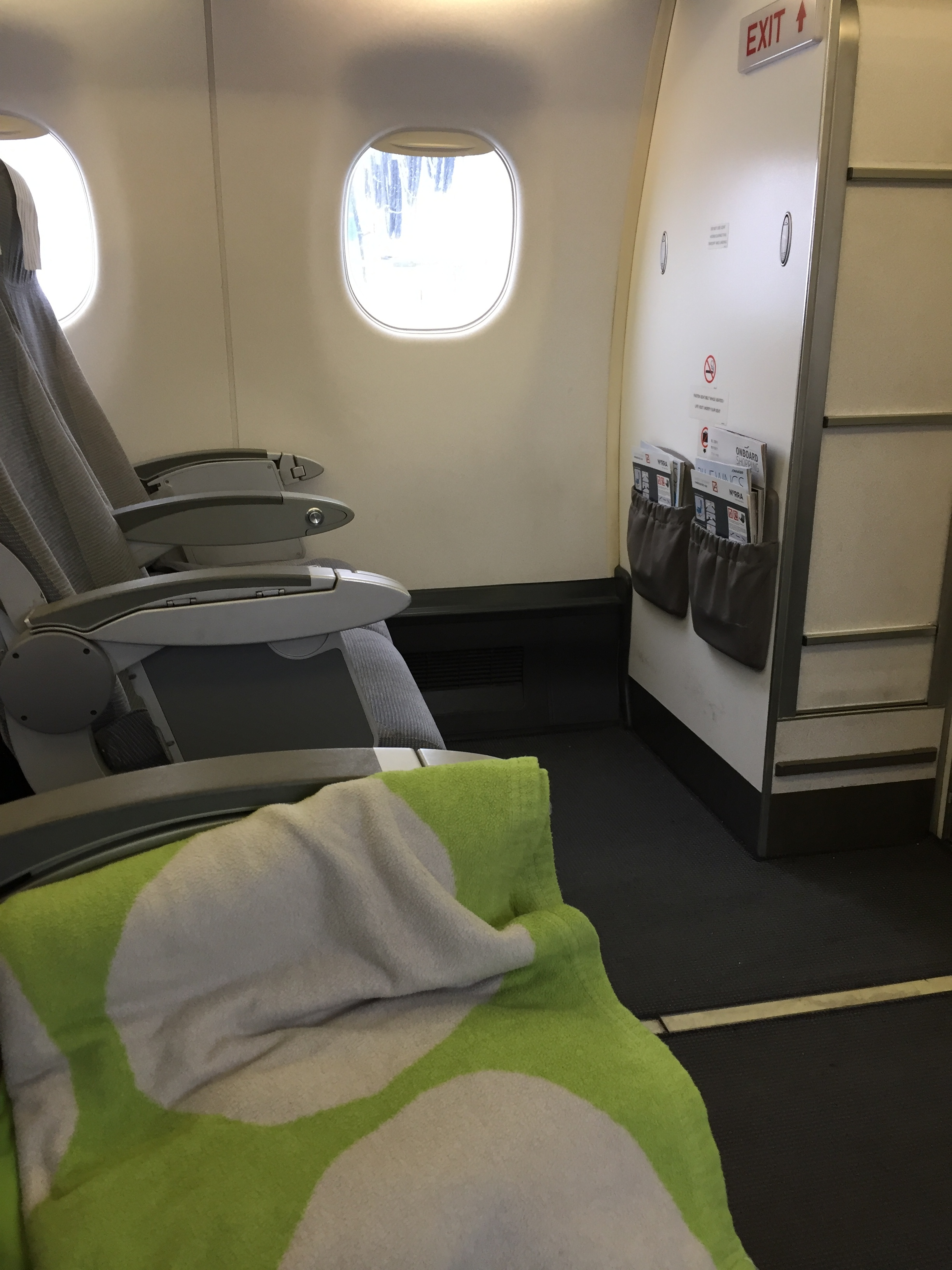 Finnair's colourful dotted blankets, same as on the A350