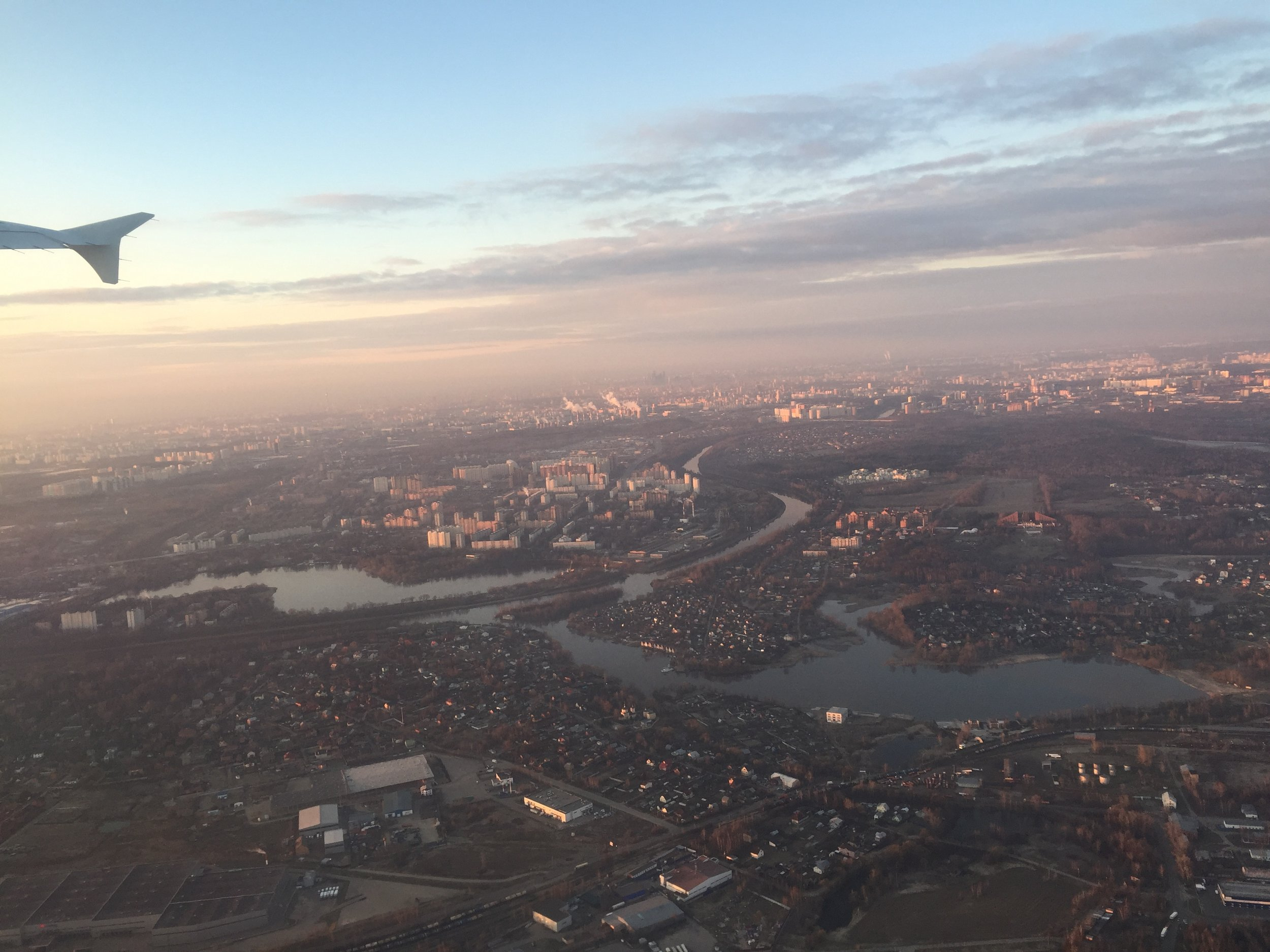 Well, this could really be any airline, but I just liked to share this picture of Moscow from the air in the early hours of the morning. Here we had just taken off from Sheremetyevo. Next stop: Roma!