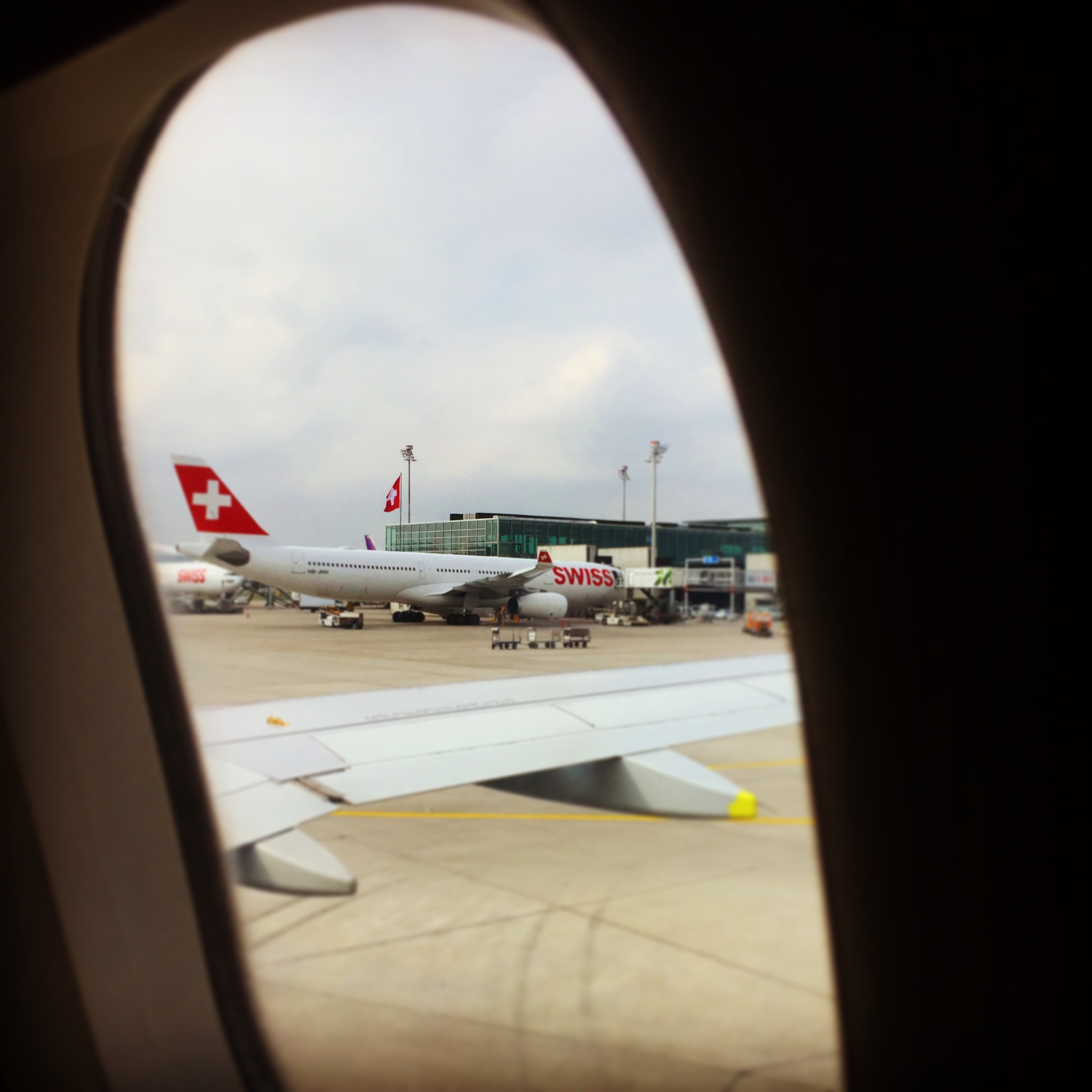 Arrival at Kloten airport, Zurich. As always, the Swiss not wasting an opportunity to fly their flag proudly!