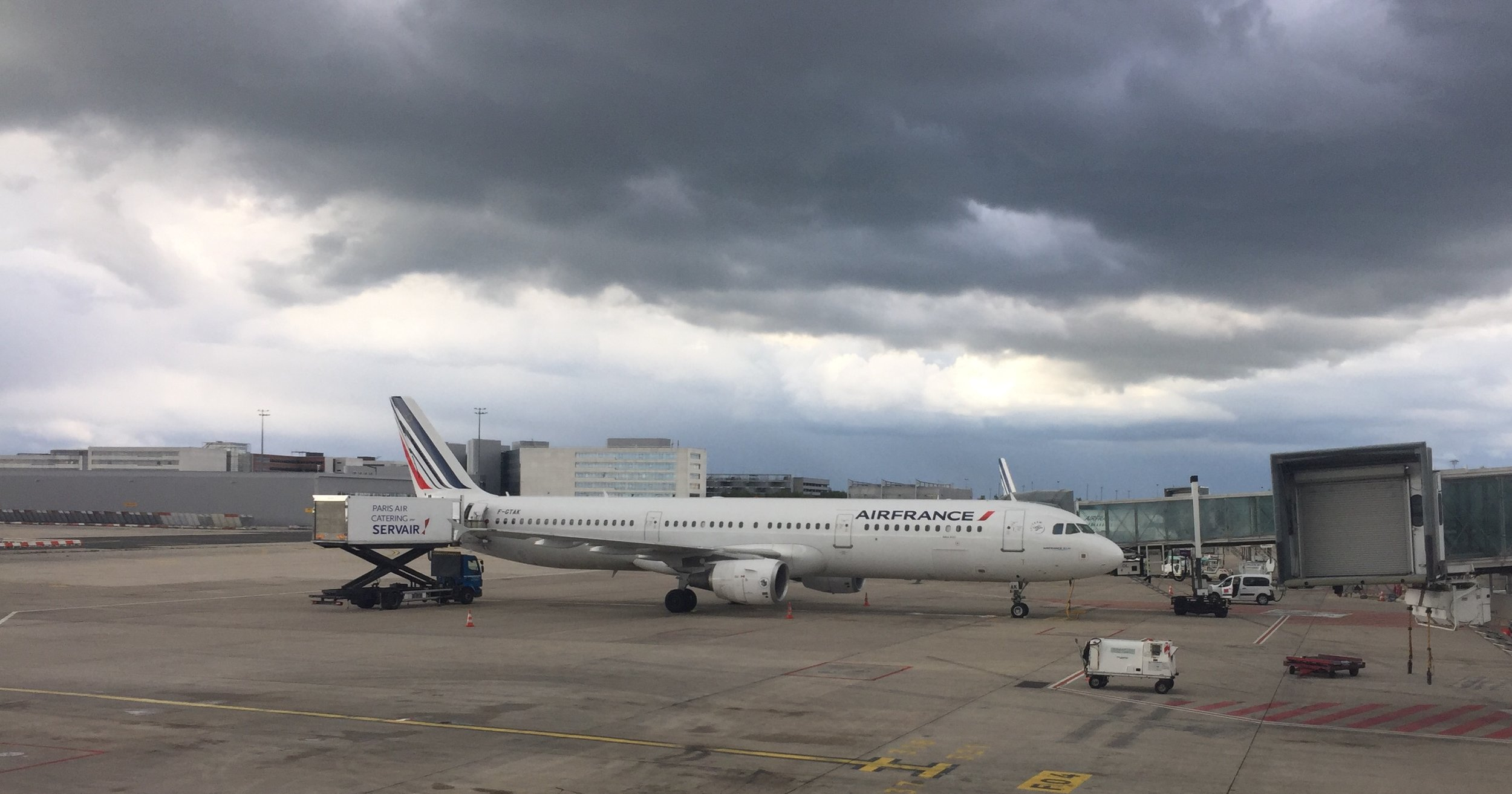 Touch down and taxiing at Charles de Gaulle airport...some threatening clouds there (it started to rain the moment I stepped out of the terminal)