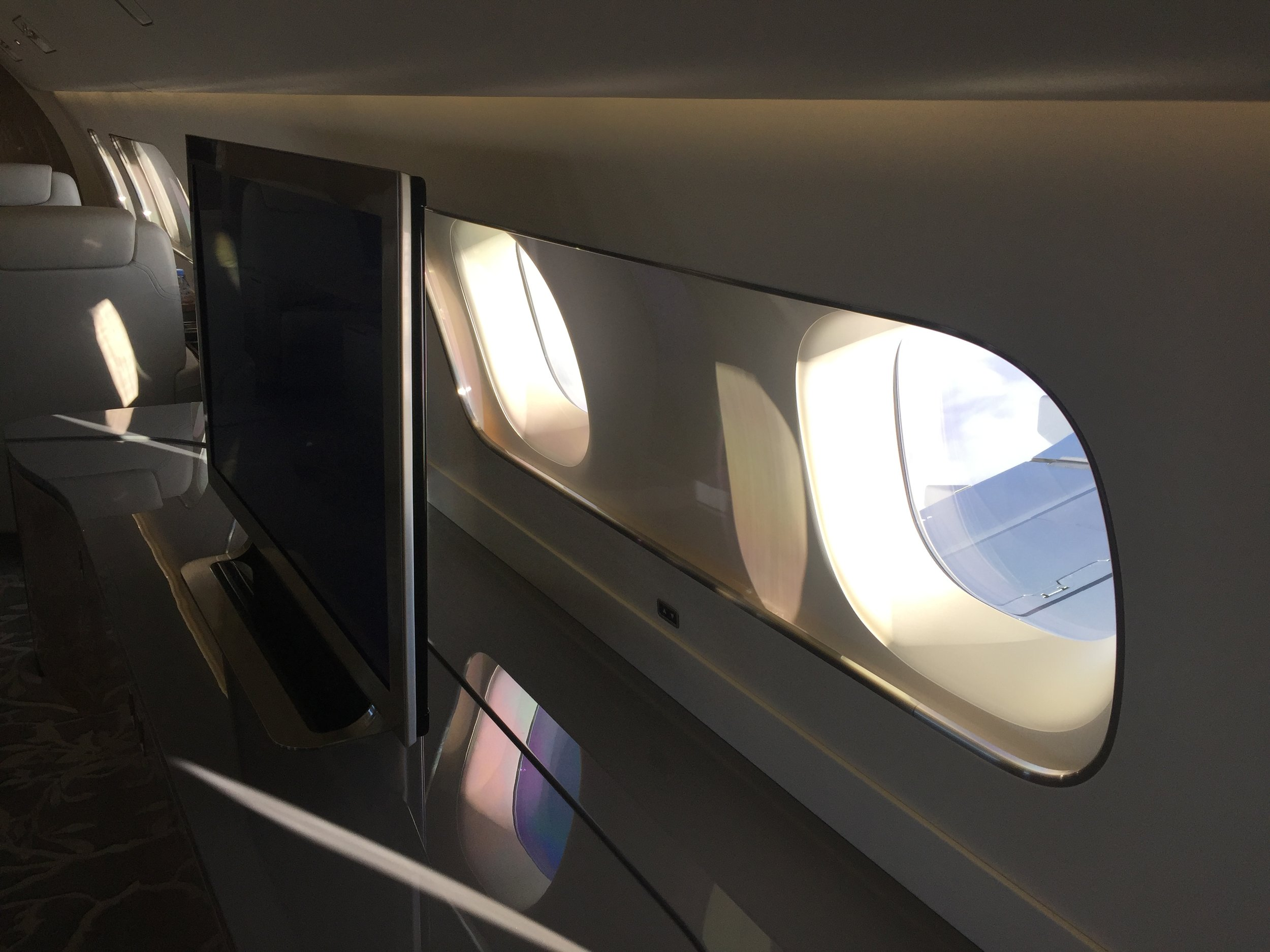 Although these are of the conventional sort, windows play a major role in some of Embraer's most outlandish cabin interior concepts for the Lineage 1000E