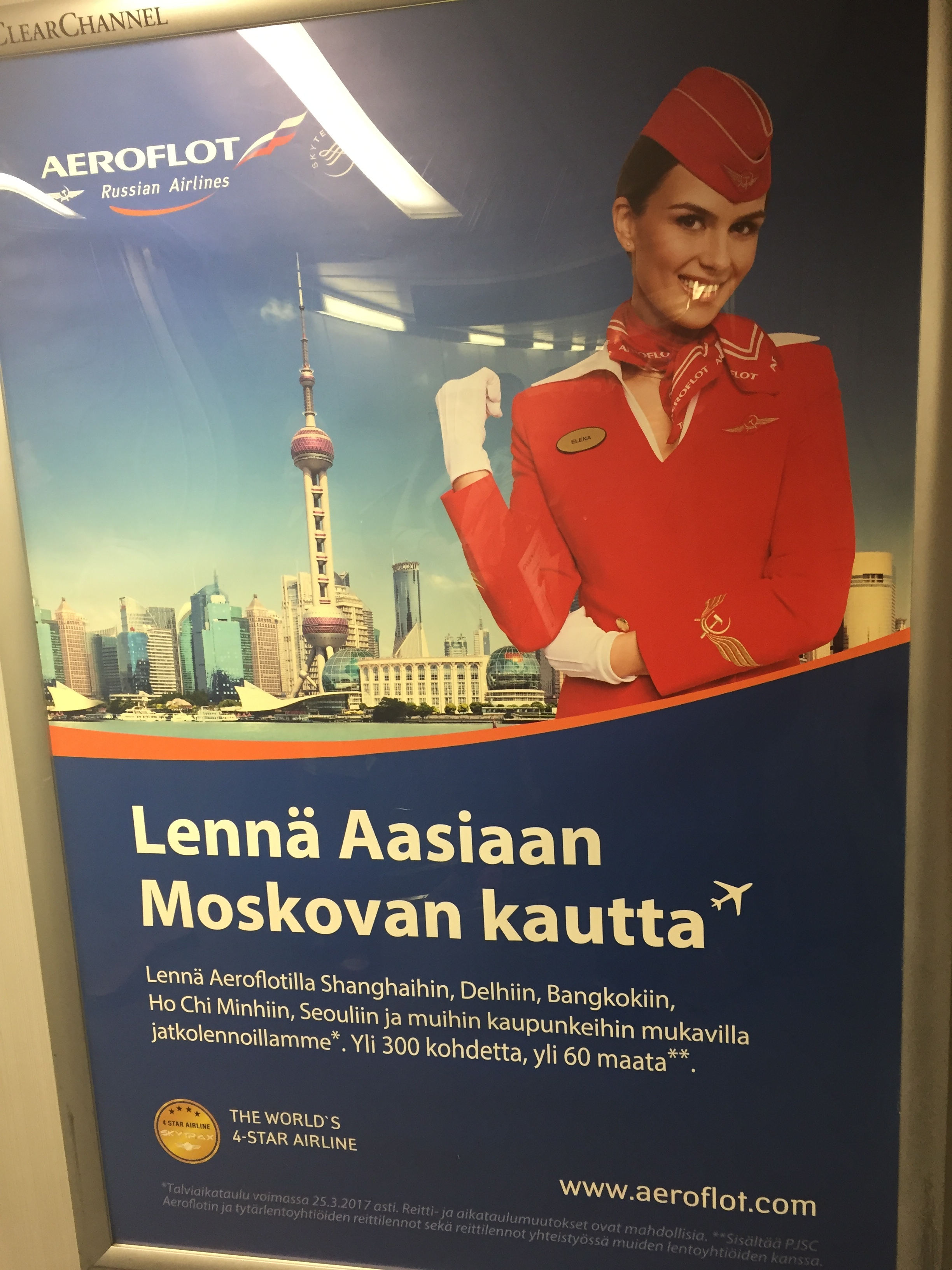 Interesting to see that Aeroflot advertises its Asian connections via Moscow...in Helsinki, which is a hub that specializes precisely on Europe to Asia connections