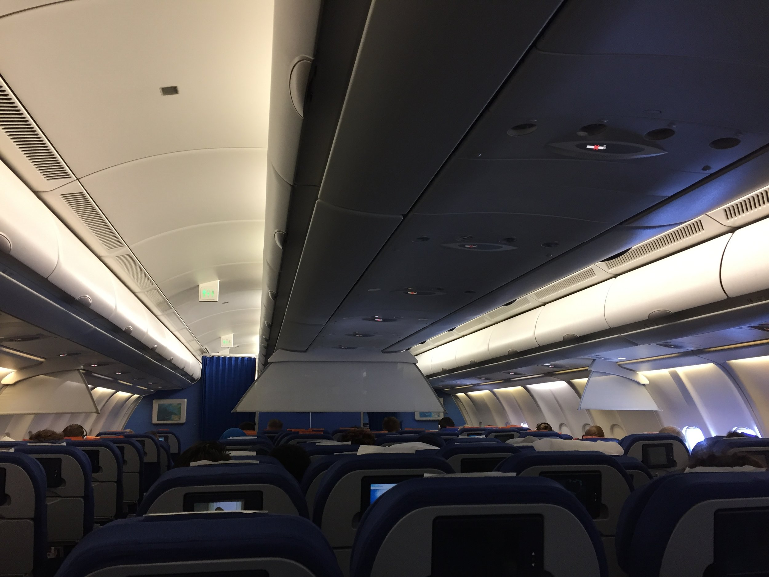 A general view of the A330-200 economy class cabin