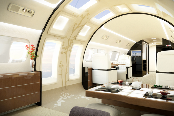 Embraer's Kyoto cabin interior: notice the large panoramic windows on the side letting in plenty of natural light. Picture: Embraer