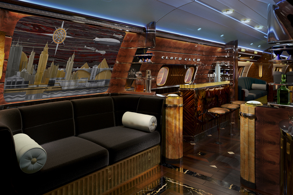 Welcome to Art-Déco 1920s Mahattan - an executive jet cabin concept likely to attract celebrities, artists and urbanites alike
