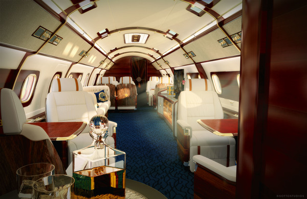 The Skyacht interior takes inspiration from a 1930s yacht