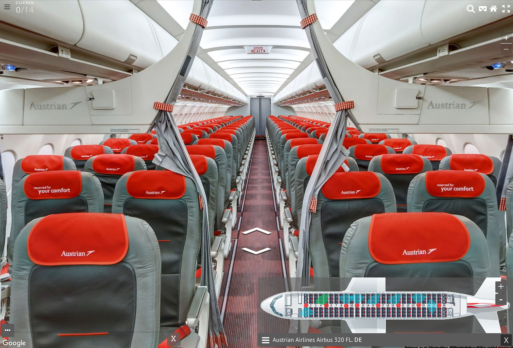 An Austrian Airlines A320 cabin on myPanorama