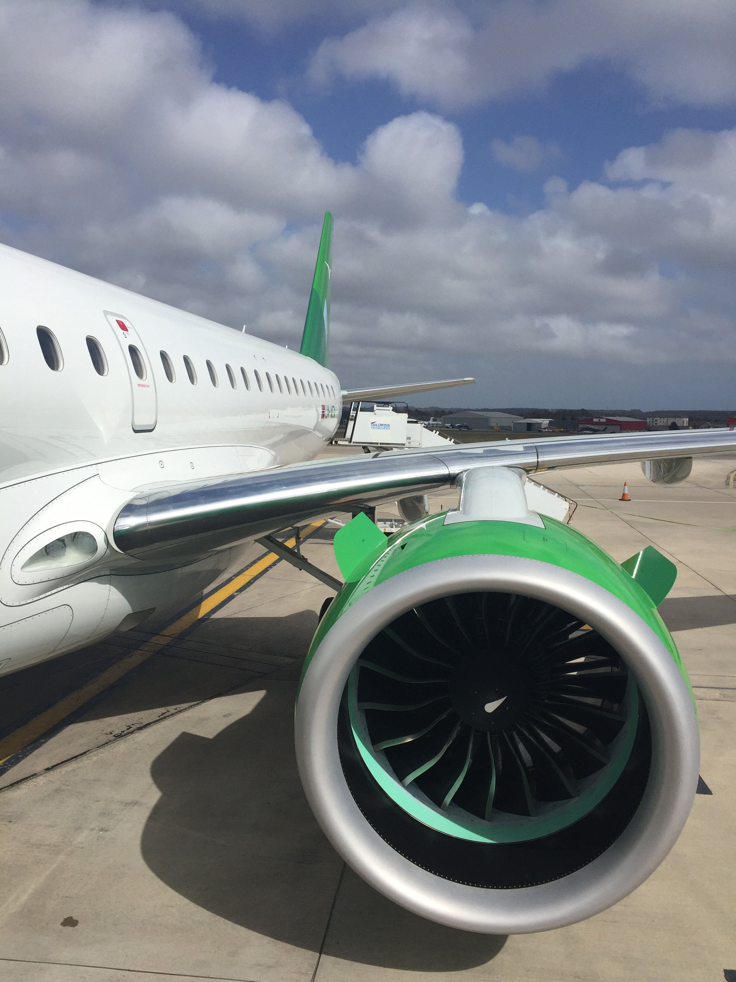 A close look at the engine of the Embraer E2 jet