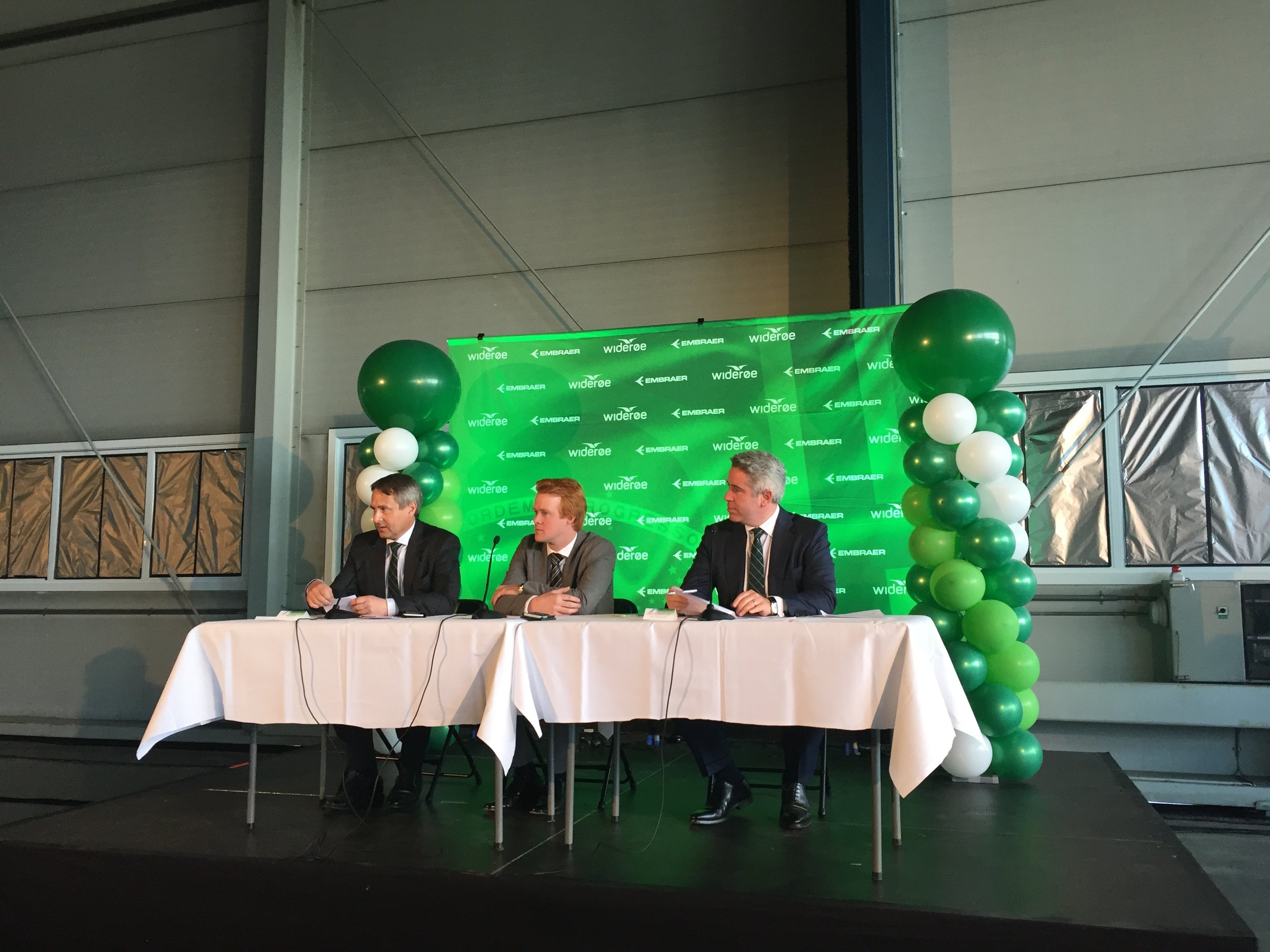 Press conference with Wideroe's CEO, Nilsein, the E2 project manager Mr.Aks and Embraer's Commercial Aircraft CEO, Slattery