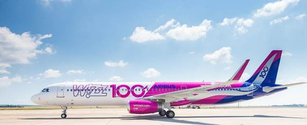 Picture:Wizz Air's 100th Airbus bearing a special Livery .