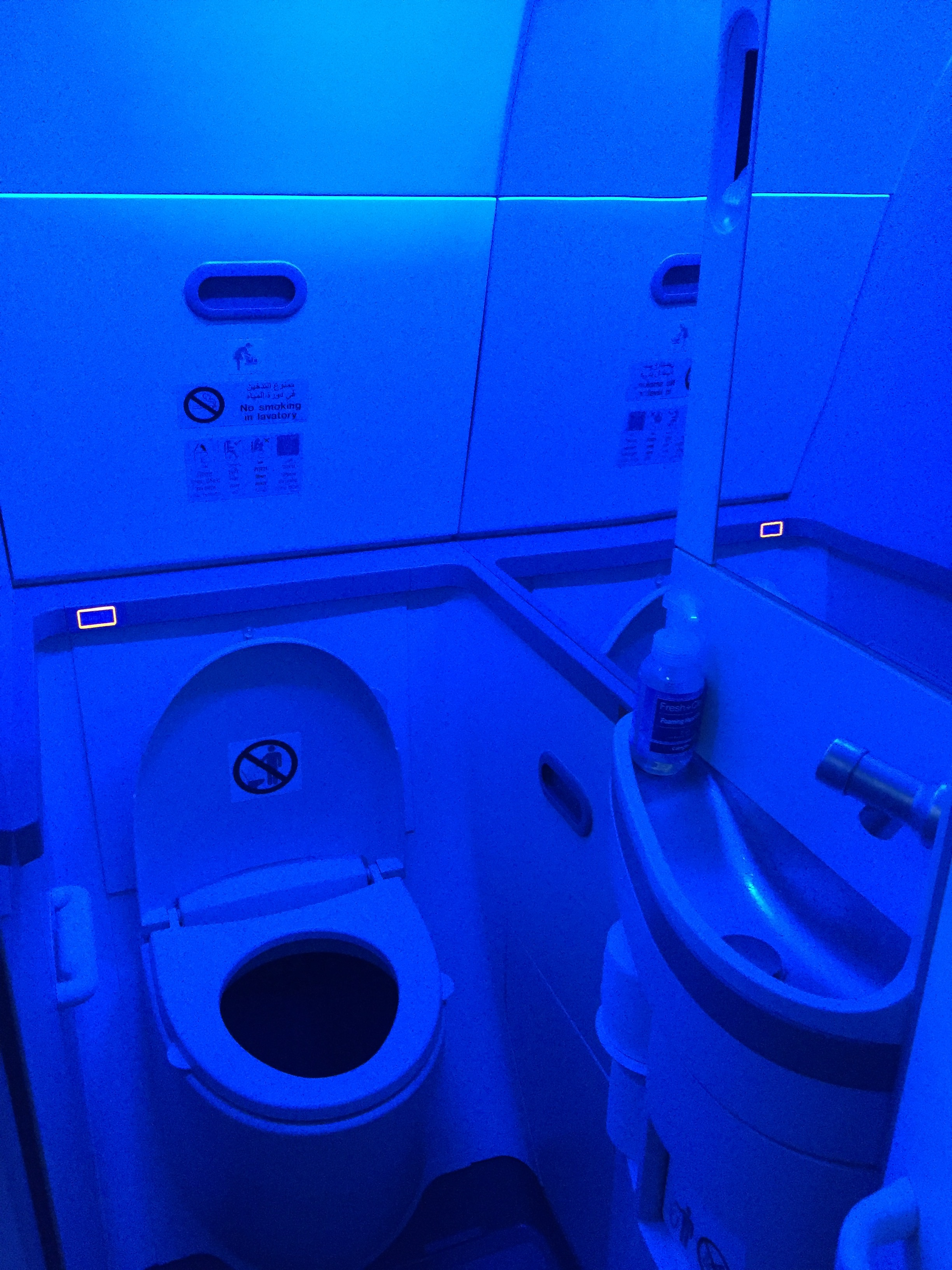 This is the futuristic-looking bathroom of the Boeing 737 MAX