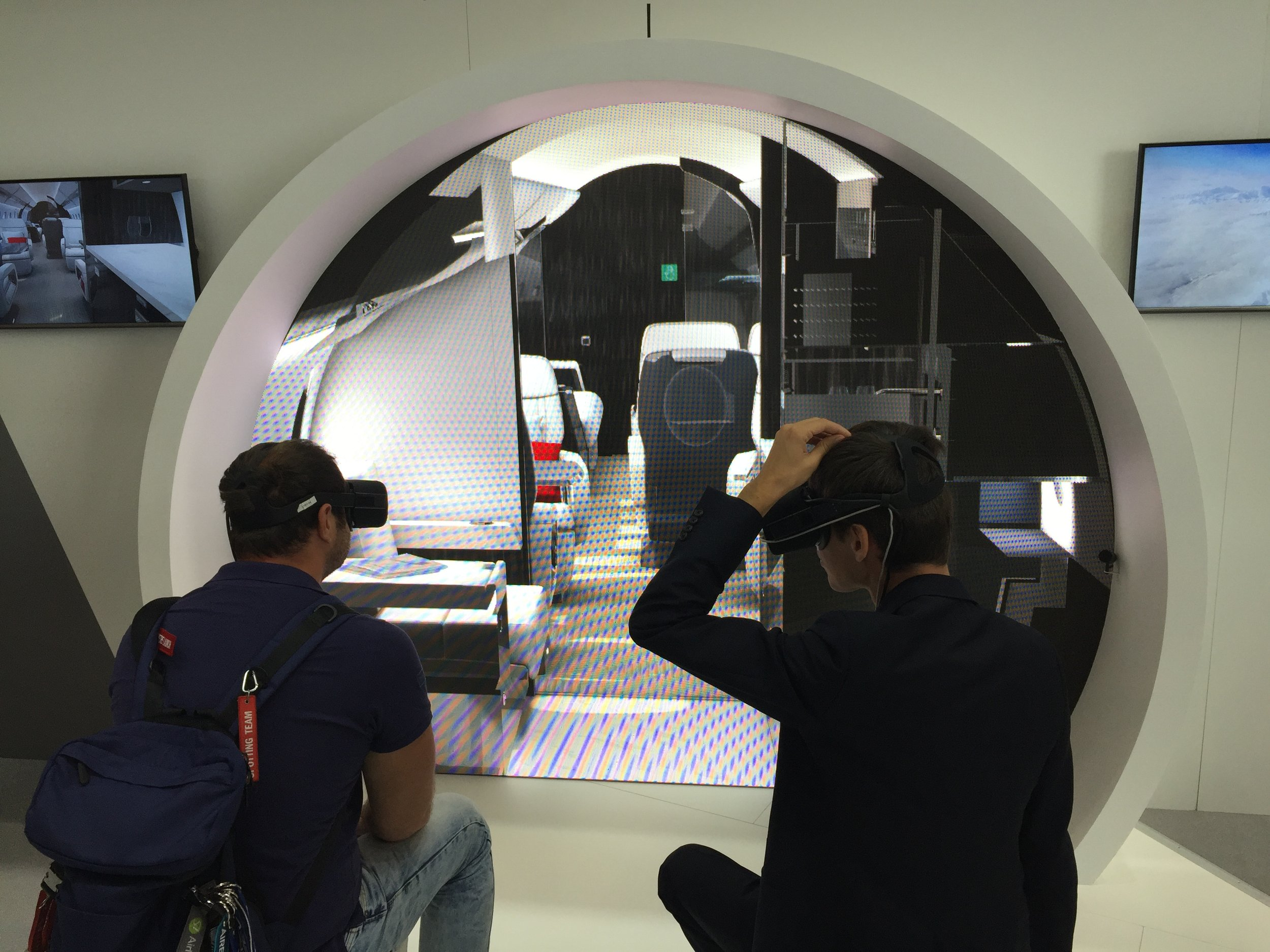 The VR set up is the same size as the Falcon 8X cabin. Here Russian aviation blogger  Artem  trying it.