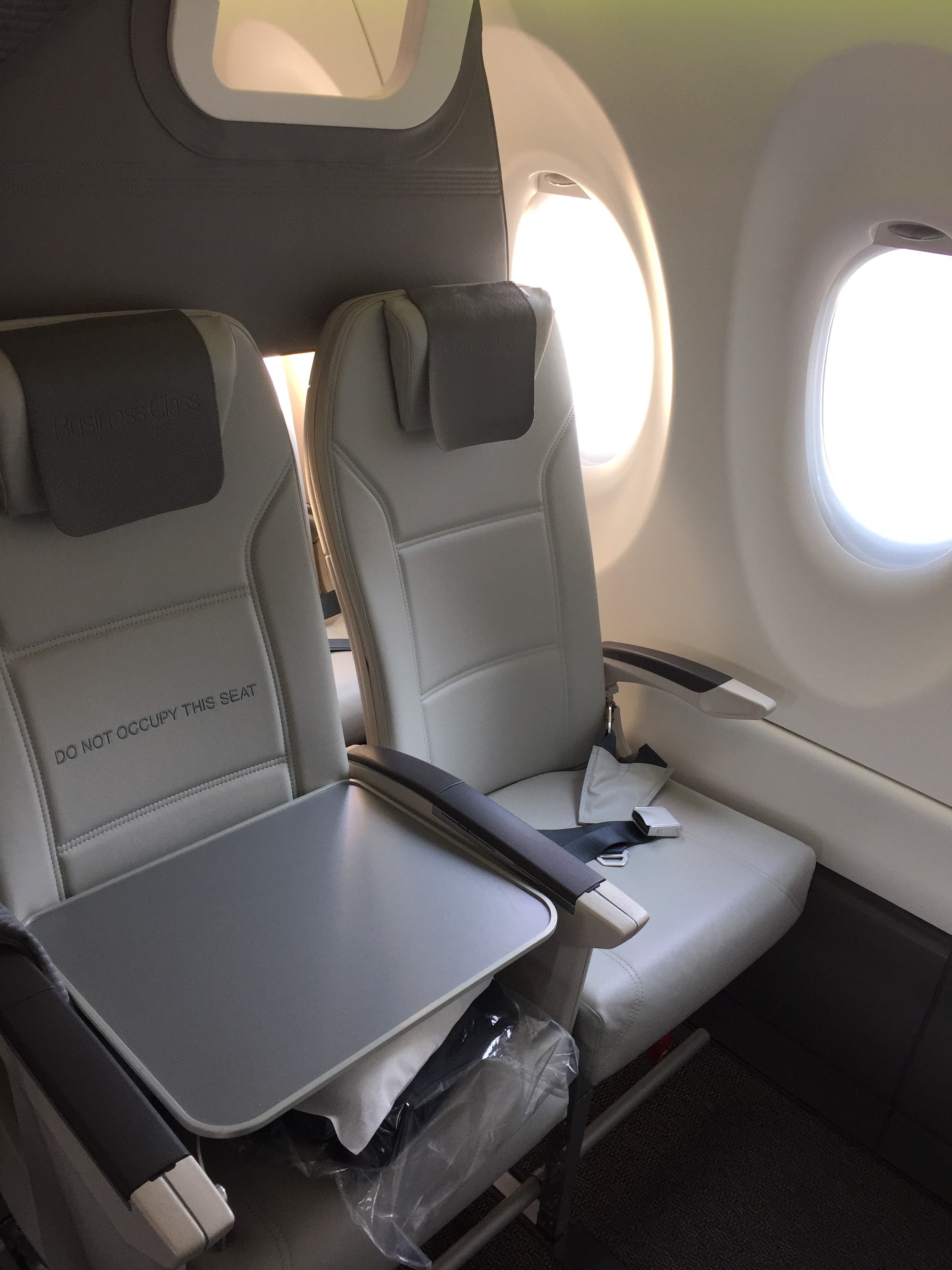 airBaltic business class seat on Airbus A220
