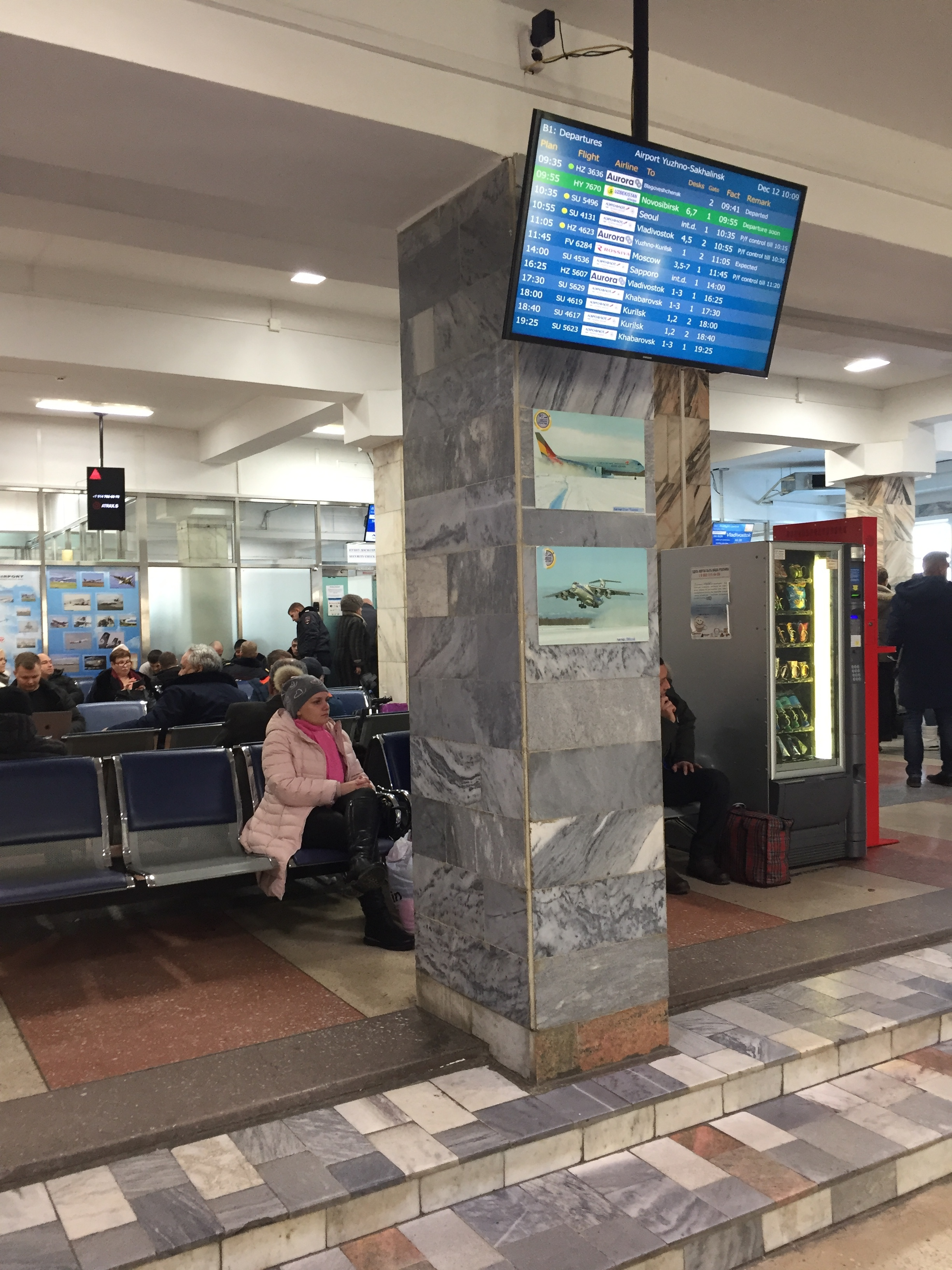 Little has changed since Soviet times inside the departures hall at Yuzhno-Sakhalinsk airport. This building will soon be replaced by a state-of-theart new terminal, though.