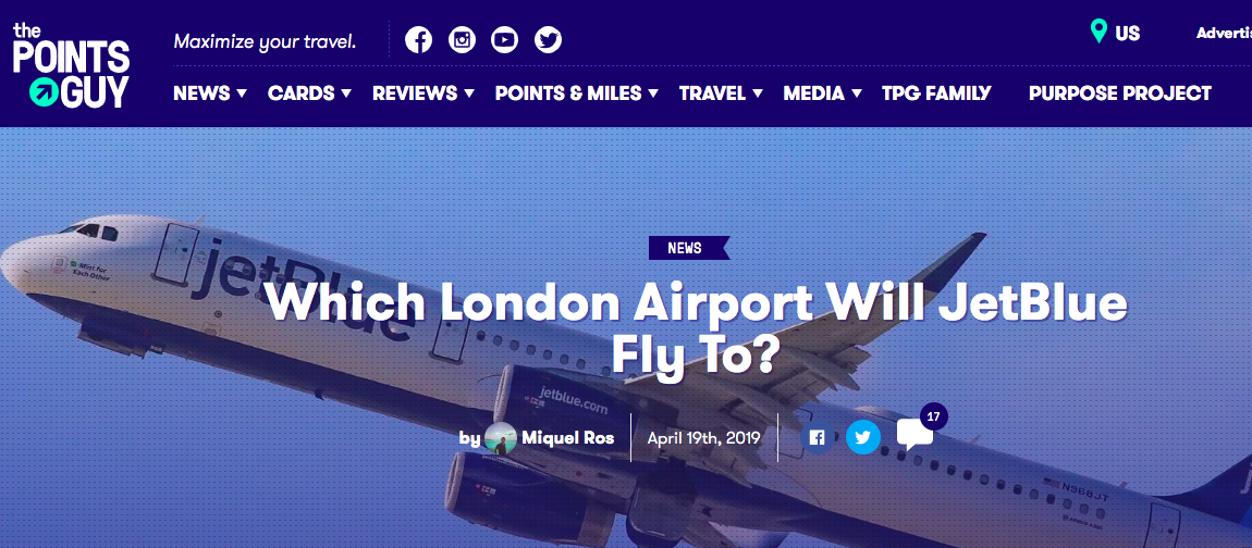 On The Points Guy: Which London airport for JetBlue? — Allplane