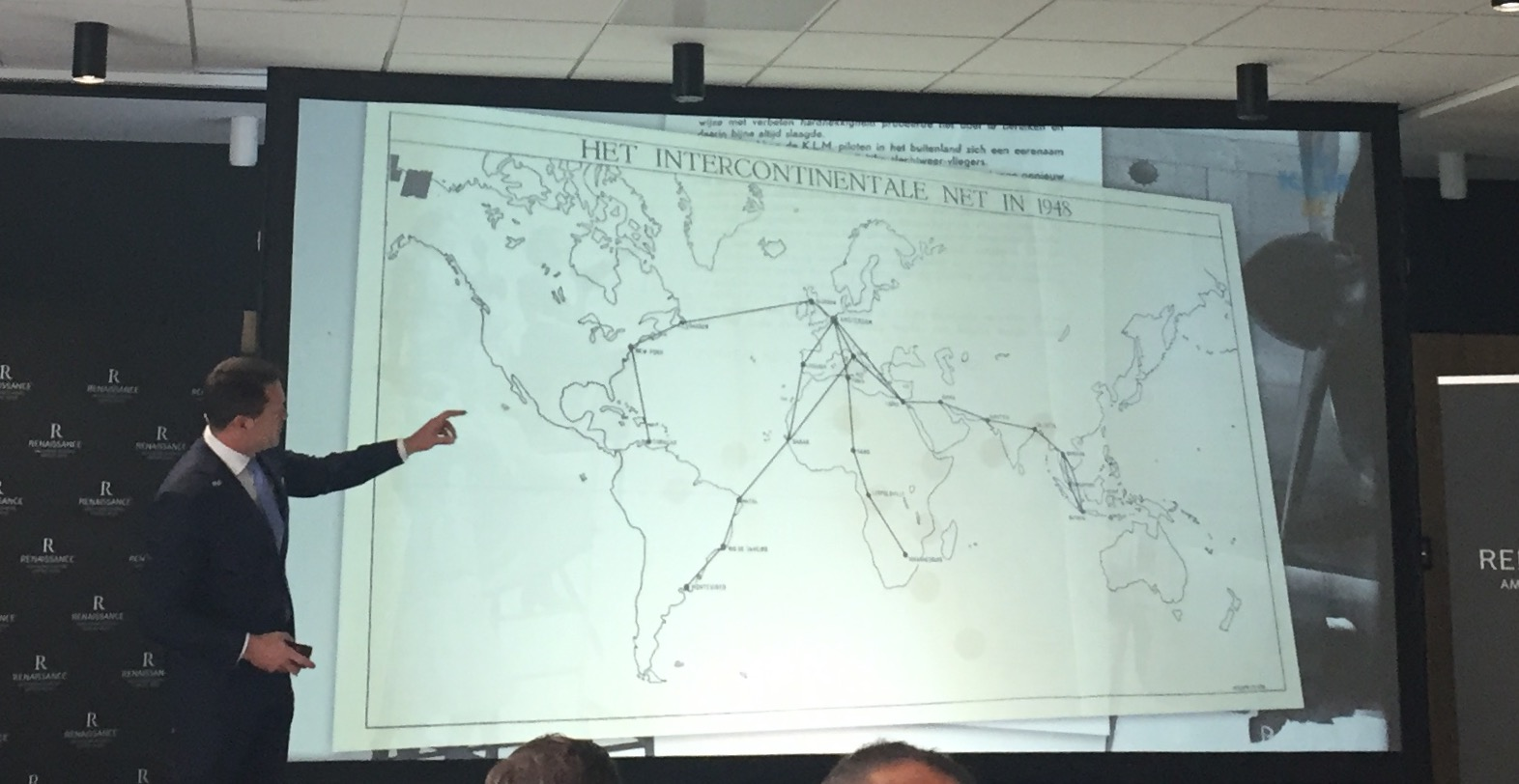 KLM CEO, Pieter Elbers shows the airline's route network in the early years , when it was focus in keping open the links between The Netherlands and its colonies at the time.