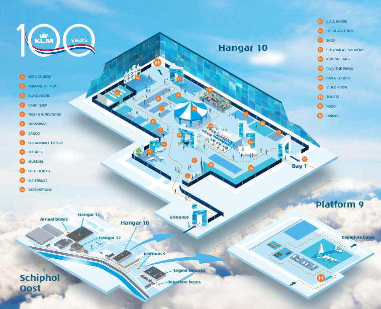 The layout of the KLM Experience at Schiphol airport Hangar 10