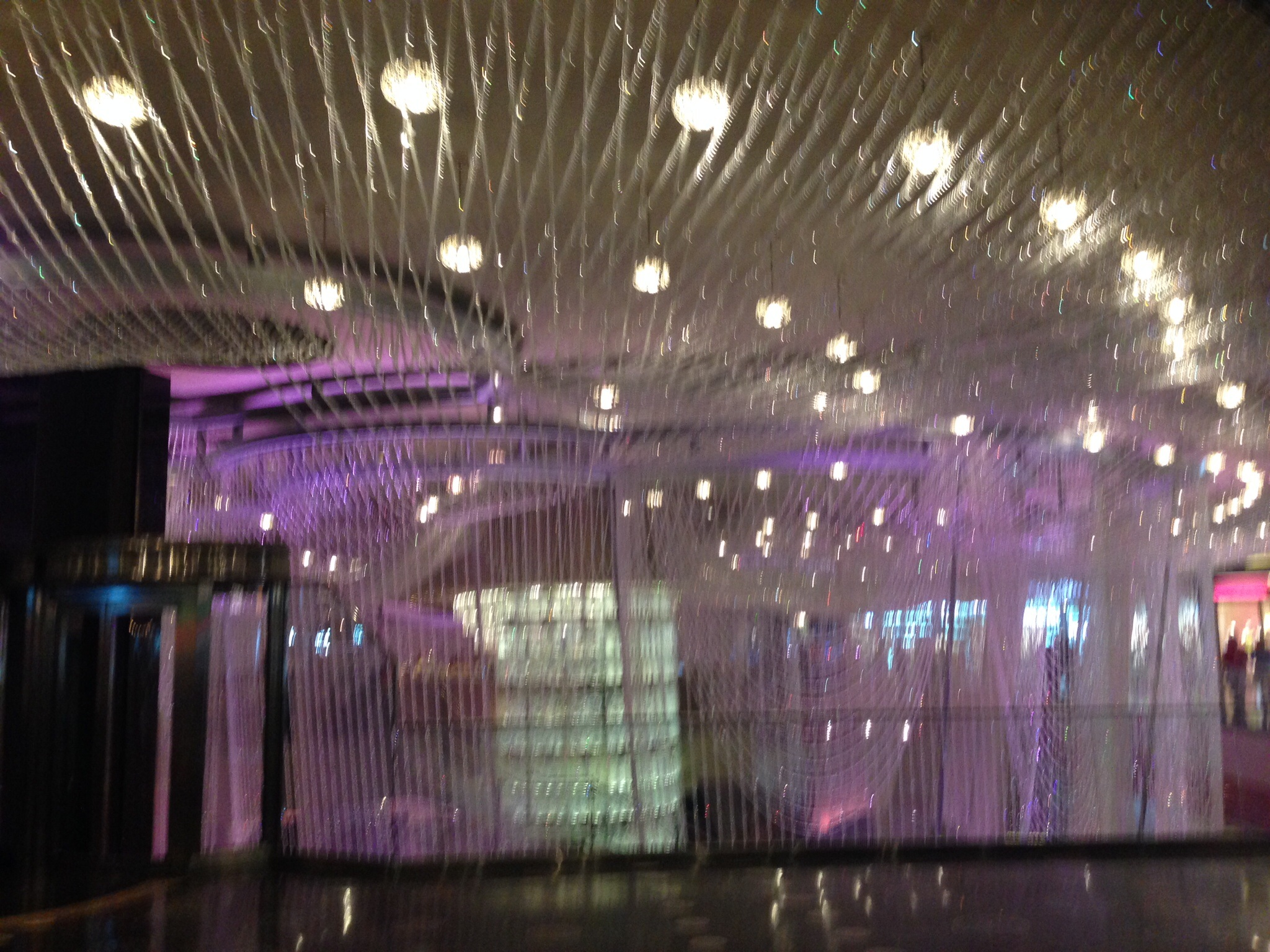 Crystals hanging from the ceiling at The Cosmopolitan
